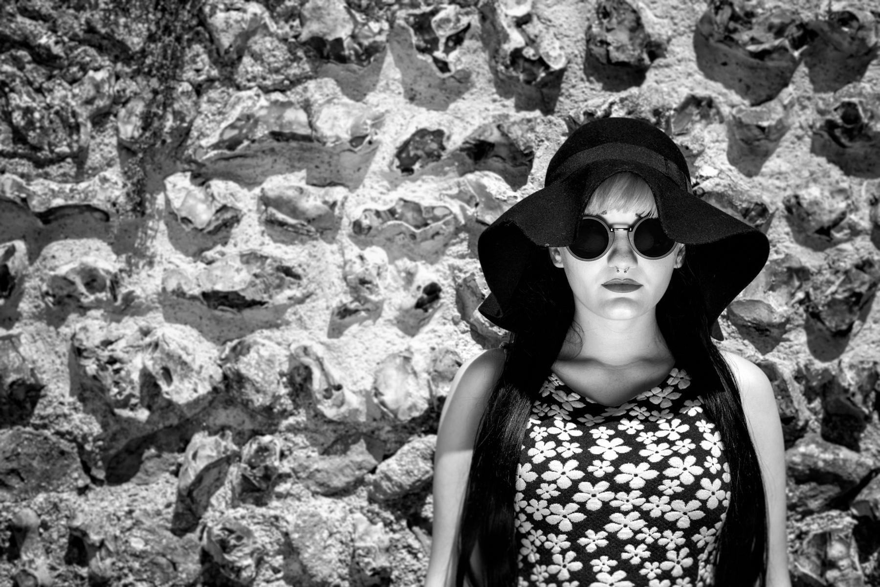 Black and white stylish female