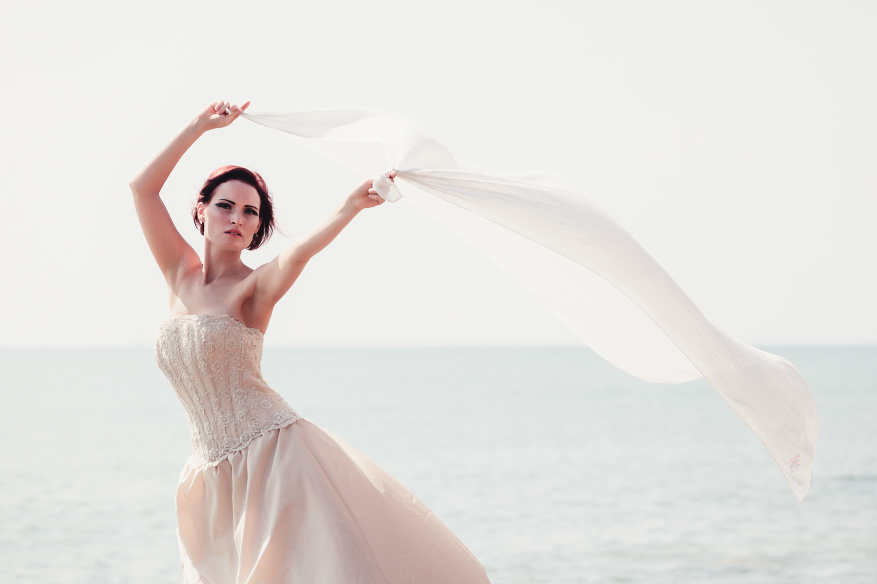 bride with veil in the wind