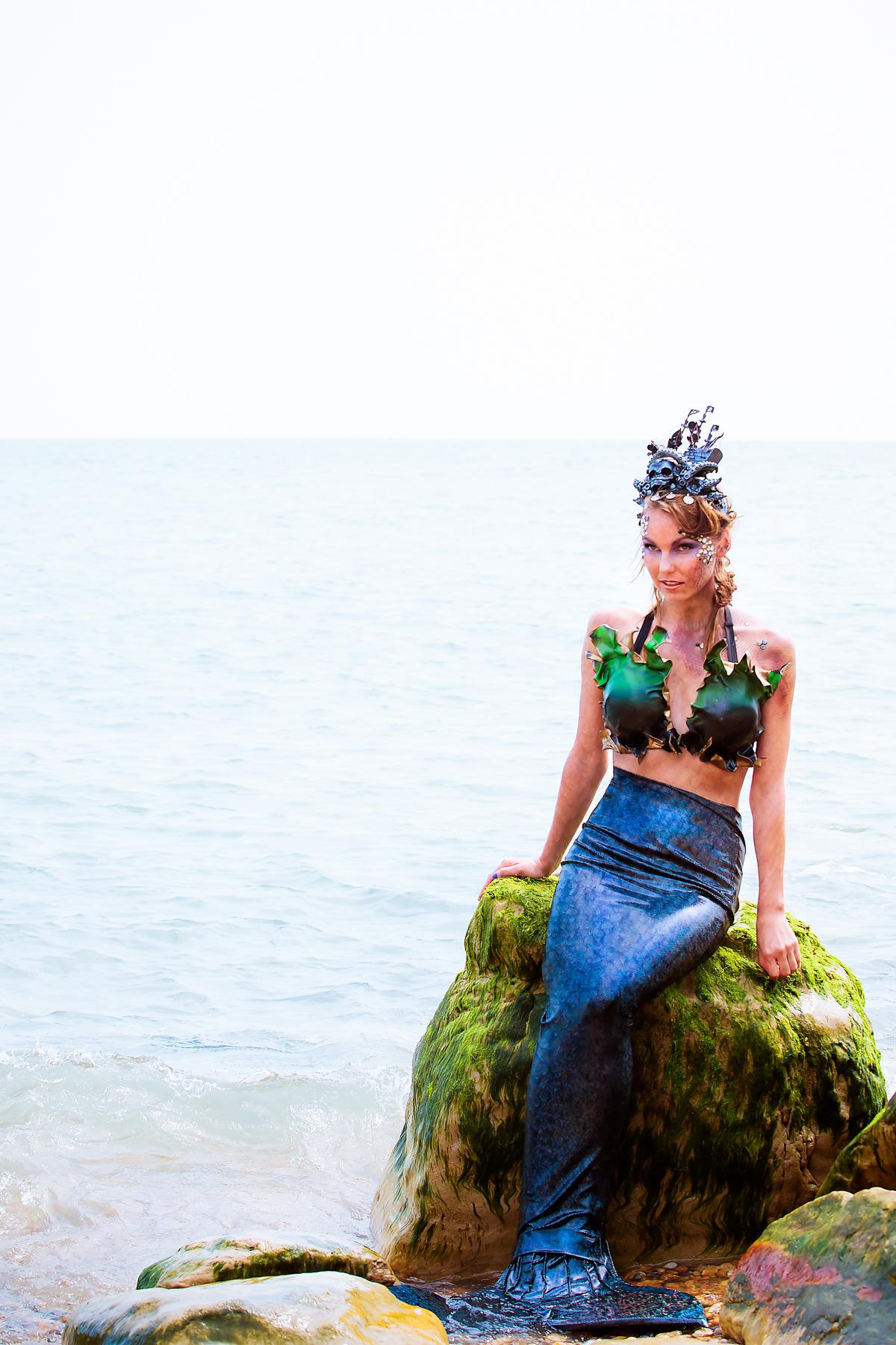 A mermaid in the sea
