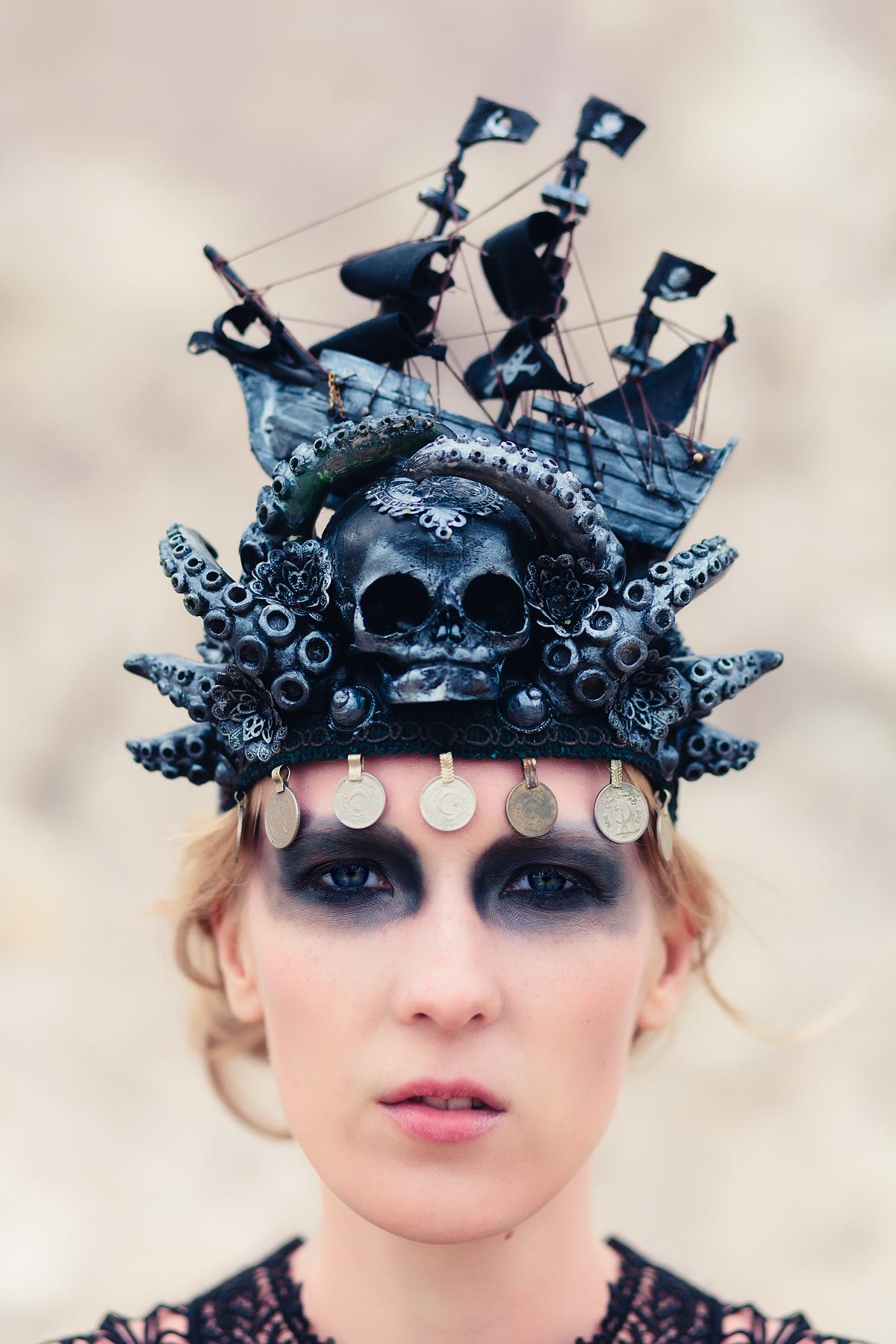 Woman wearing a pirate ship hat