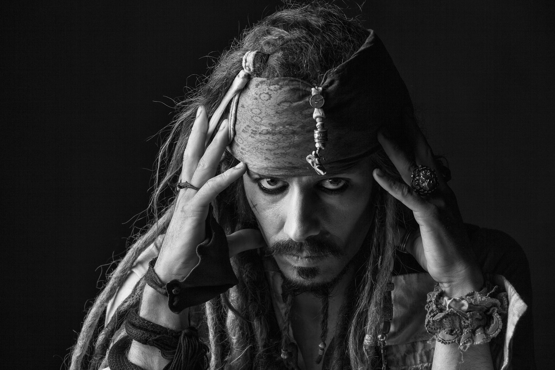 Black and White shot of Jack Sparrow