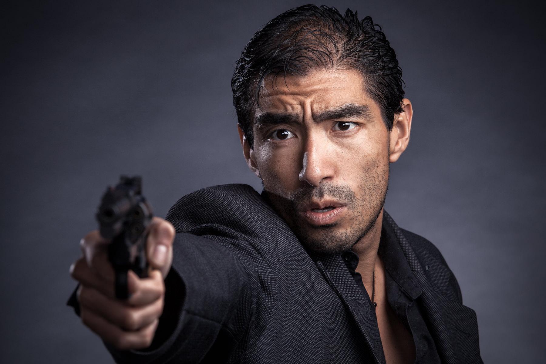 Male with handgun