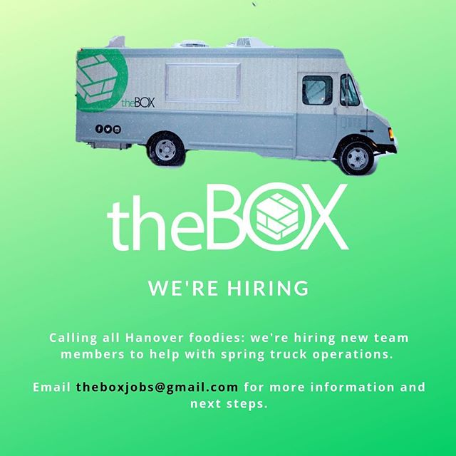 Dartmouth students, looking for a part-time job this spring? @theboxfoodtruck is hiring! We offer flexible hours, competitive hourly wages, and employee discounts. Email us today to apply: theboxjobs@gmail.com . . . . . #dartmouthcollege #dartmouth #dartmouth21s #dartmouth22s #discoverdartmouth #saltedoatcookies #foodtruck #dartmouthjobs #thayerengineering #bakerberrylibrary