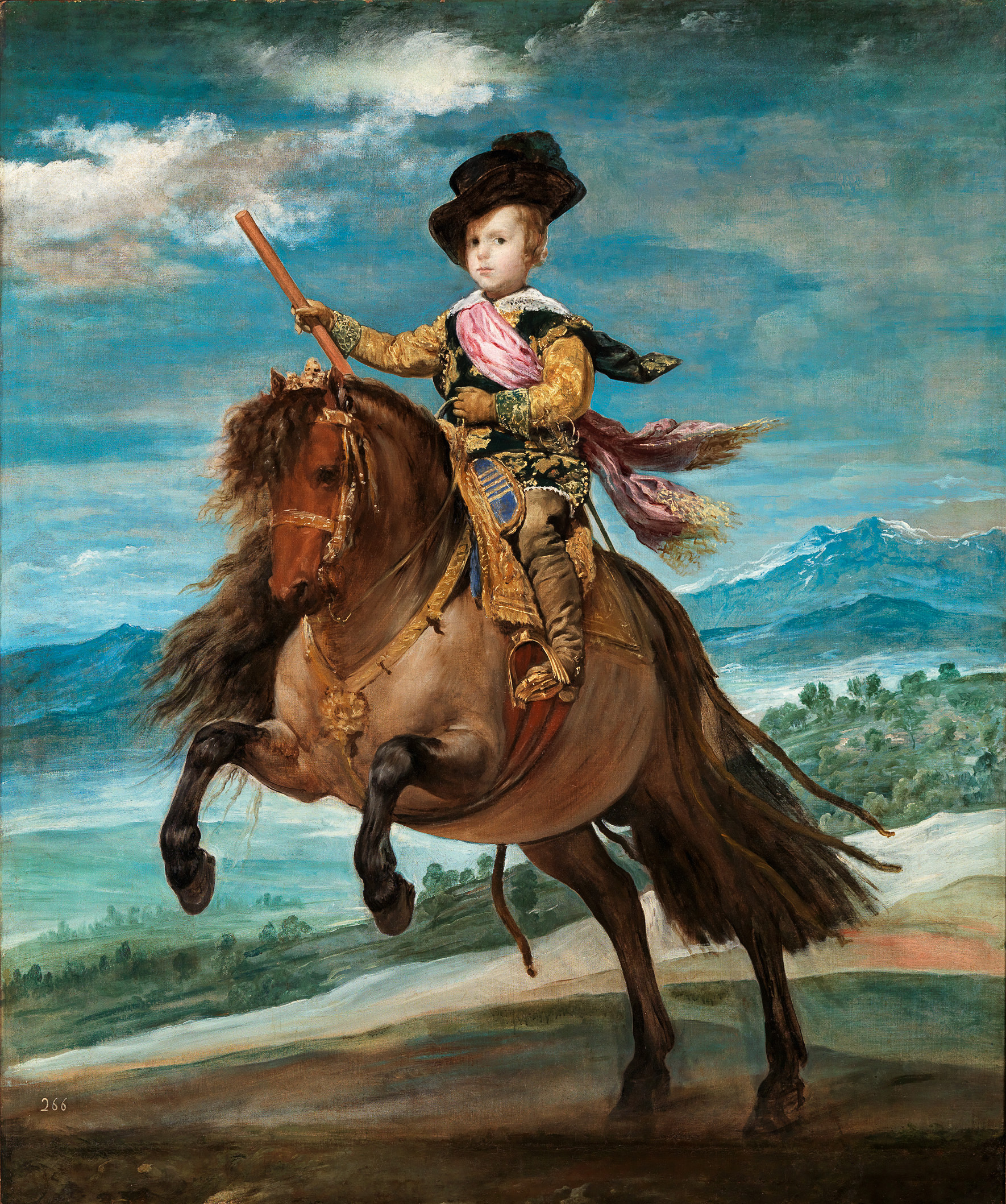 Prinz Baltasar Carlos zu Pferd    (1.7 MB)  Diego Velázquez 1635 Öl auf Leinwand, 209 x 173 cm © Madrid, Museo del Prado