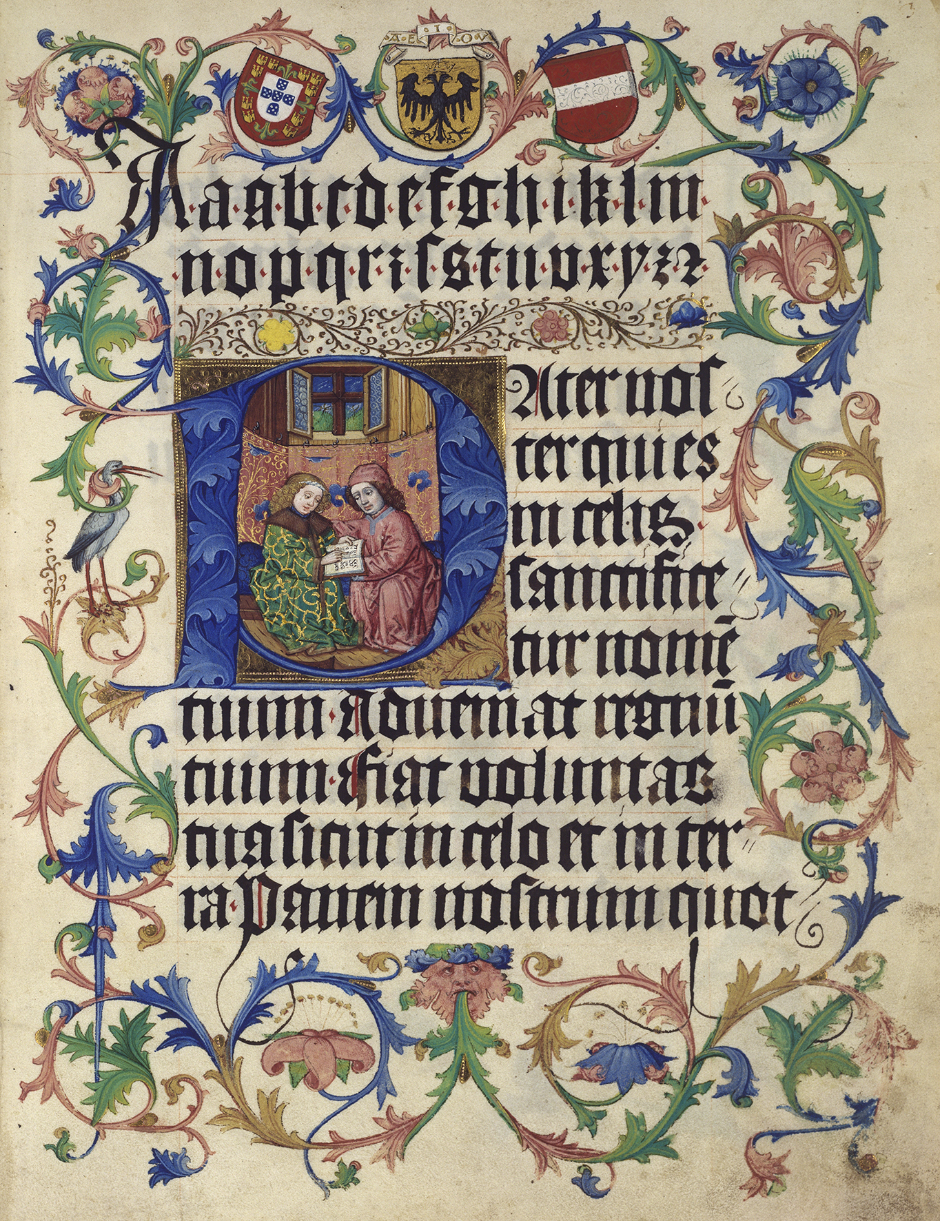 Unterrichtsszene mit Wappen Abecedarium für Maximilian I. (1459–1519) Handschrift Wien, um 1465 Österreichische Nationalbibliothek