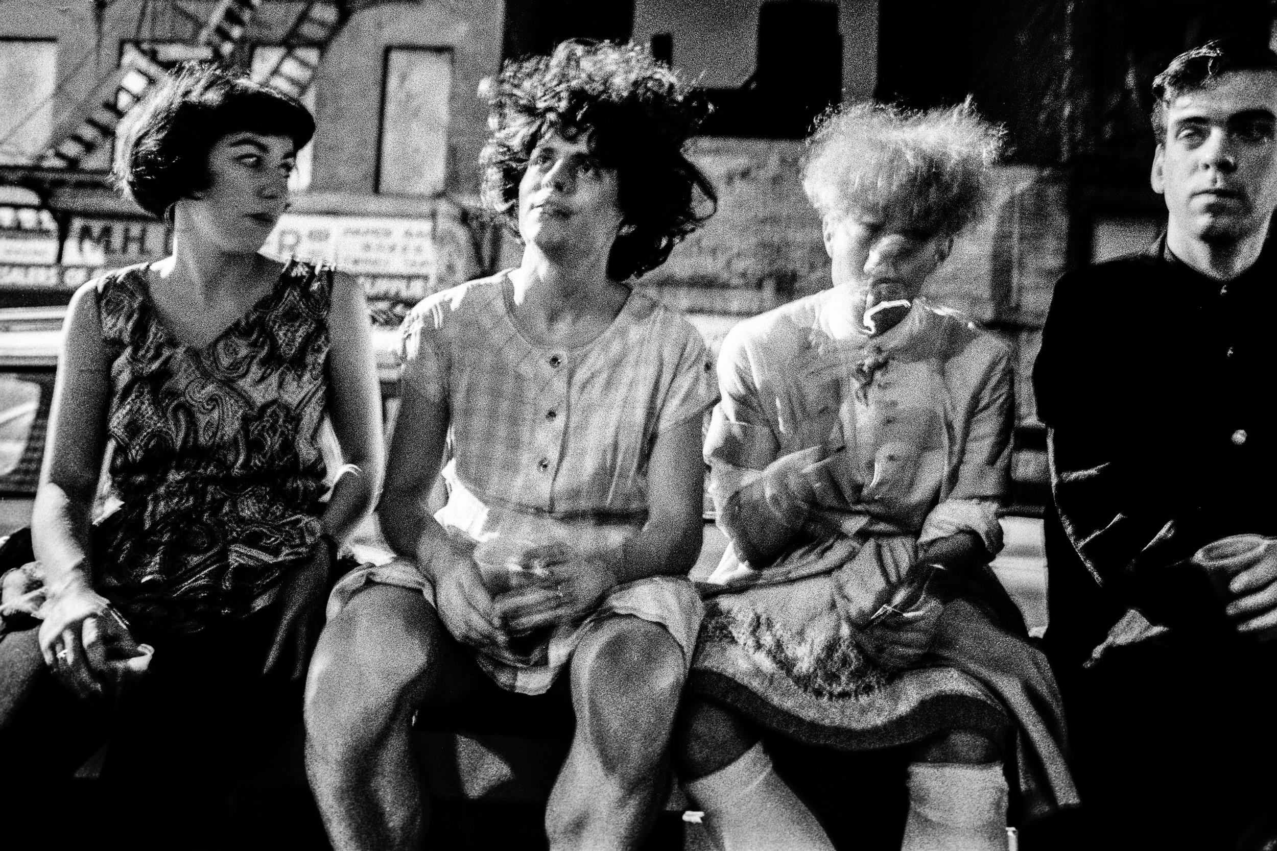 Ken Schles - Outside In Drag, Sitting On Garbage Cans, 1986.jpg