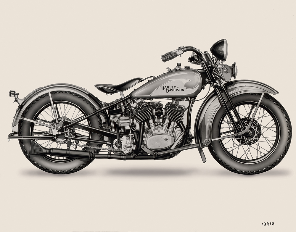 "Harley-Davidson VL from 1933 with hand-painted ""Bird Tank""  Photo © Harley-Davidson"