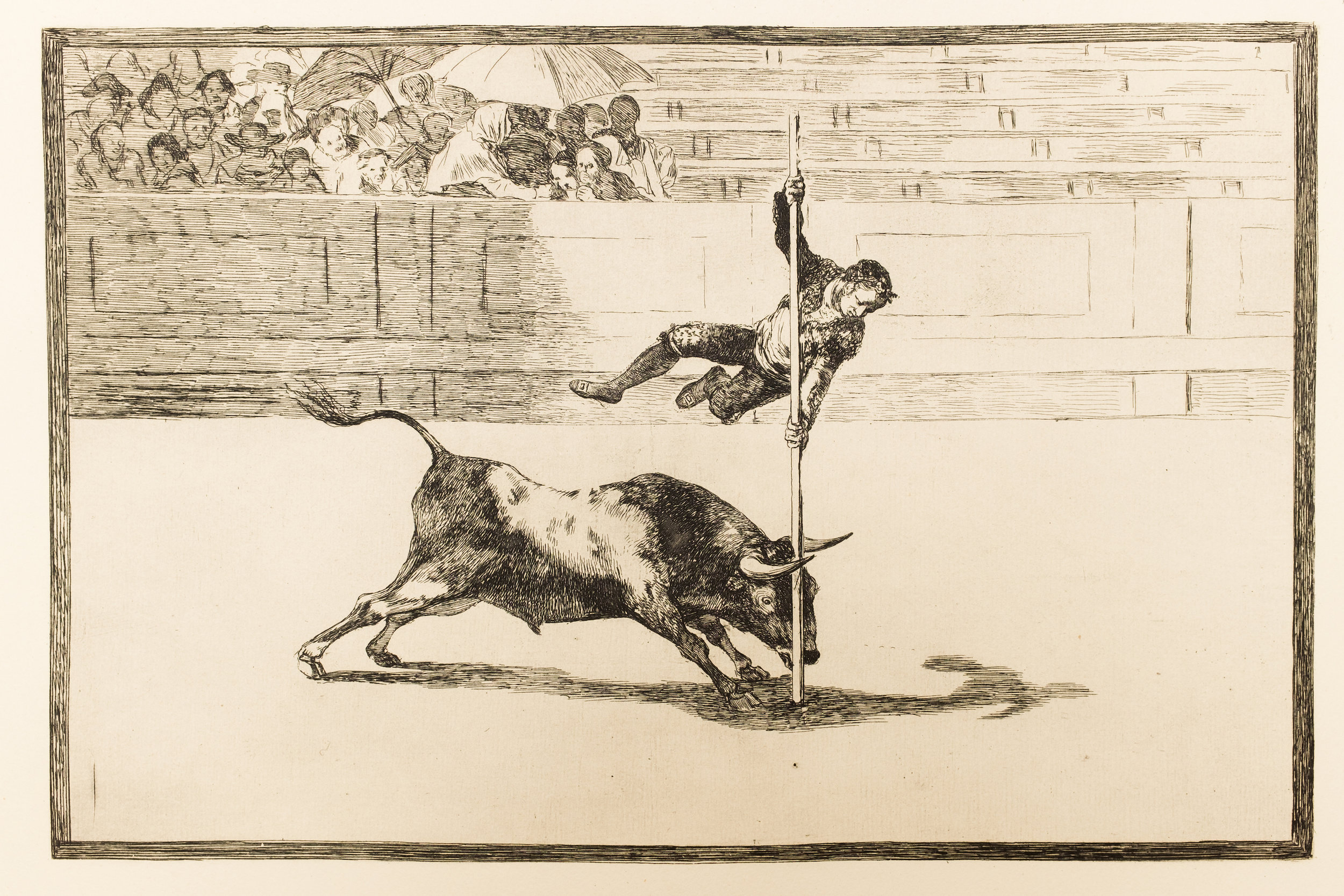 Francisco Goya: The agility and audacity of Juanito Apiñani in [the ring] at Madrid from La Tauromaquia, (Bullfighting) (1815–1816). State Central Museum of Contemporary History of Russia, Moscow.