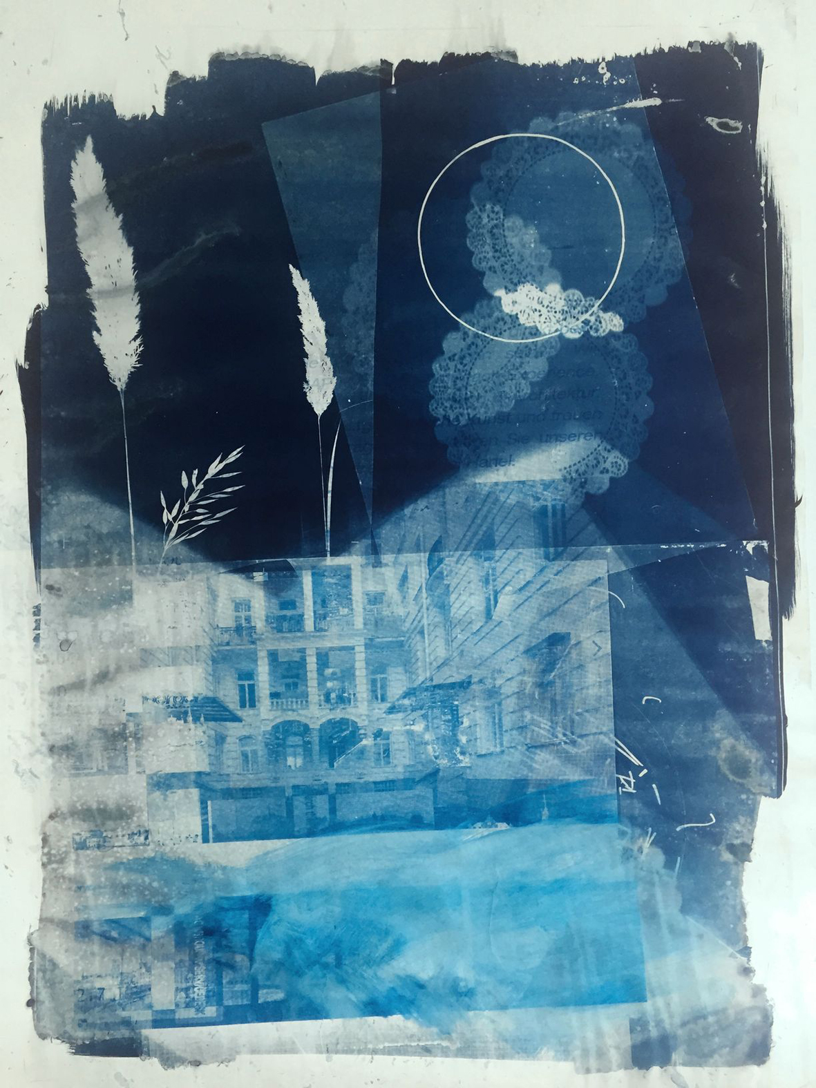 "Michael Wegerer  ""Along the Way to Utopia"" , 2018  Cyanotypie, Siebdruck,  100x150cm  (c) Michael Wegerer"