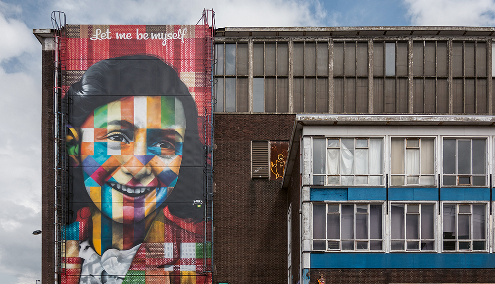 Anne Frank mural by Eduardo Kobra, NDSM Wharf  Photo © Gilbert Murillo