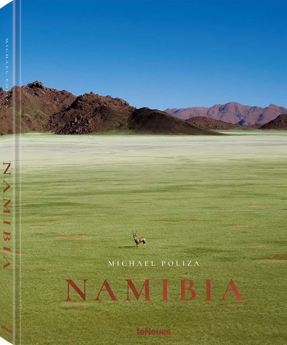 © Namibia by Michael Poliza, published by teNeues, € 80,  www.teneues.com ,  The grassland of the NamibRand Nature Reserve stretches like a green sea against the hills of the Nubib mountain range,  Photo © 2018 Michael Poliza. All rights reserved.  www.michaelpoliza.com