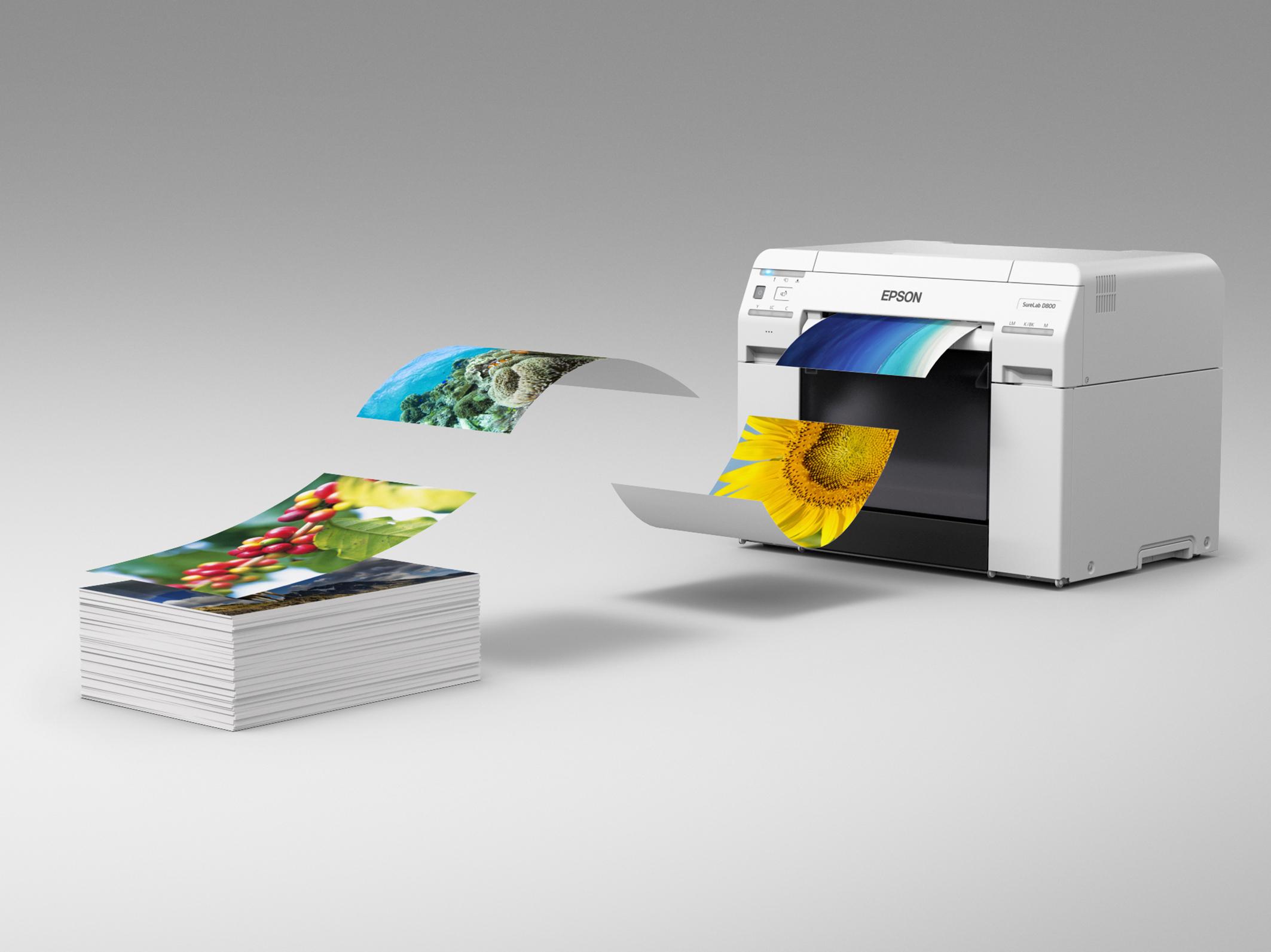 Der neue Epson SureLab SL-D800 Drucker wurde für den Einsatz mit vielen Medien in unterschiedlichsten Formaten ausgelegt.