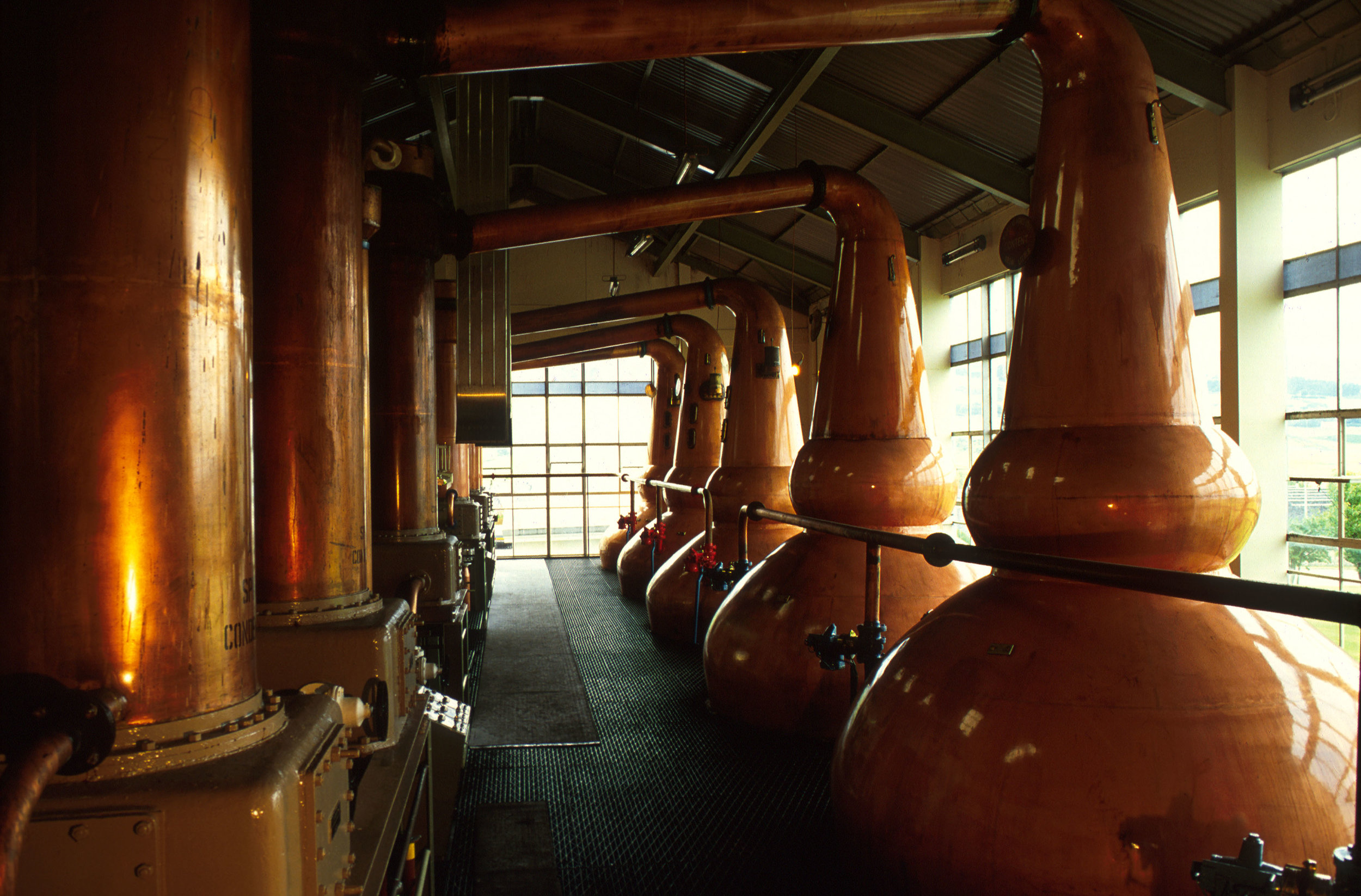 The copper vats of the clynelish distillery to be found east of Brora, Sutherland