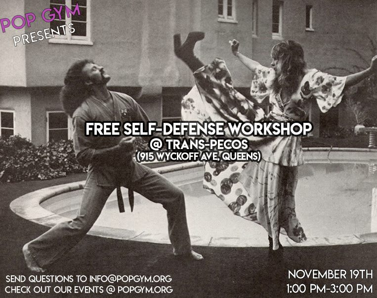 """Palm Heels for the people! Don't get that joke? No worries! Come by this FREE Pop Up workshop to learn some introductory skills that will keep you feeling safe. We'll be covering the basics: stretching, conditioning, technique, and theory, with the hope that participants will leave with some super useful foundations that will aid them in the day-to-day. Mix that in with some sweat and some movement, and you'll have an accessible and confidence-boosting good time for all. Whether you are a beginner, or someone with experience, come work it out with us!  Open to all ages! We'll be moving around, so participants should wear clothing in which they are comfortable stretching and sweating.  POP Gym is a new project, working towards opening a physical space in Brooklyn that offers free self-defense, fitness, and skill share classes 7 days a week. As we continue planning, we invite you to come by any of our events this summer! Our workshops have been described as, """"fun"""", """"holistic"""" and """"empowering"""", and for any questions, comments, or inquiries for future workshops for you or your organizations, email us at info@popgym.org"""