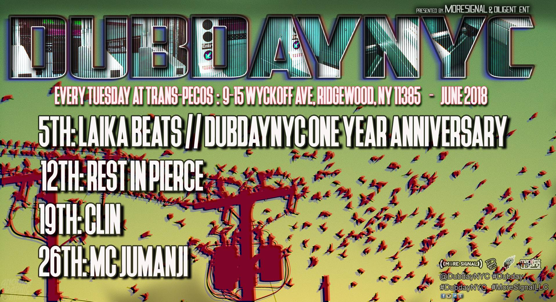::::: DUBDAY NYC ft. MC JUMANJI ::::: ::: Tuesday, June 26 :: 10pm - 2am ::: ::: Trans-Pecos :: 9-15 Wyckoff Ave, Ridgewood, NY ::: :: More Signal :: #DubdayNYC ::   ::: TICKETING ::: $10 : Online Presale [Card Only : Guaranteed Entry] $10 : Door GA [Cash Only] This Event is All Ages   ::: LINEUP :::  :: MC Jumanji :: : AmericanGrime :  https://soundcloud.com/mcjumanji   :: Seven D :: : Dubday MIA :  : Michael Savant :  : Timbo Slice :  :: SUPPORT TBA ::  :: OPEN DECKS :: : 140 U.K. Grime/U.K. Dubstep :   ::: PHOTOGRAPHY ::: Nachturnal Images   ::: LIVE VISUALS ::: Kawaii Visuals   ::: MERCH ::: Bankduds   ::::: MORE TBA! :::::
