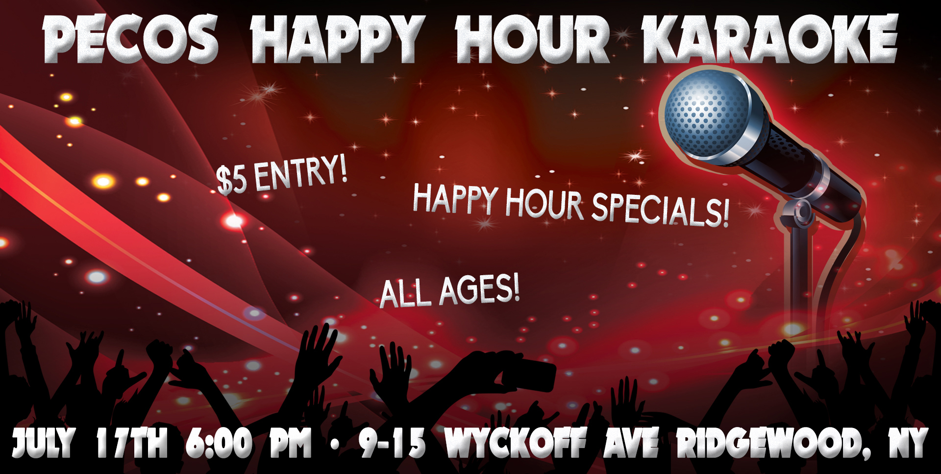 We are doing karaoke!!!! Come and SING on the STAGE!  $5 entry Happy Hour specials at the bar: $1 off all beers, $2 off all well drinks All Ages