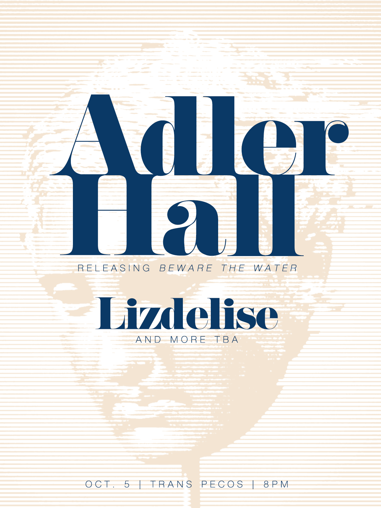 Friday October 5th at  Trans-Pecos    Golden Parachute  presents  :  Adler Hall  (Record Release) ::  Lizdelise  + 1 more TBA  8pm, all ages  $10