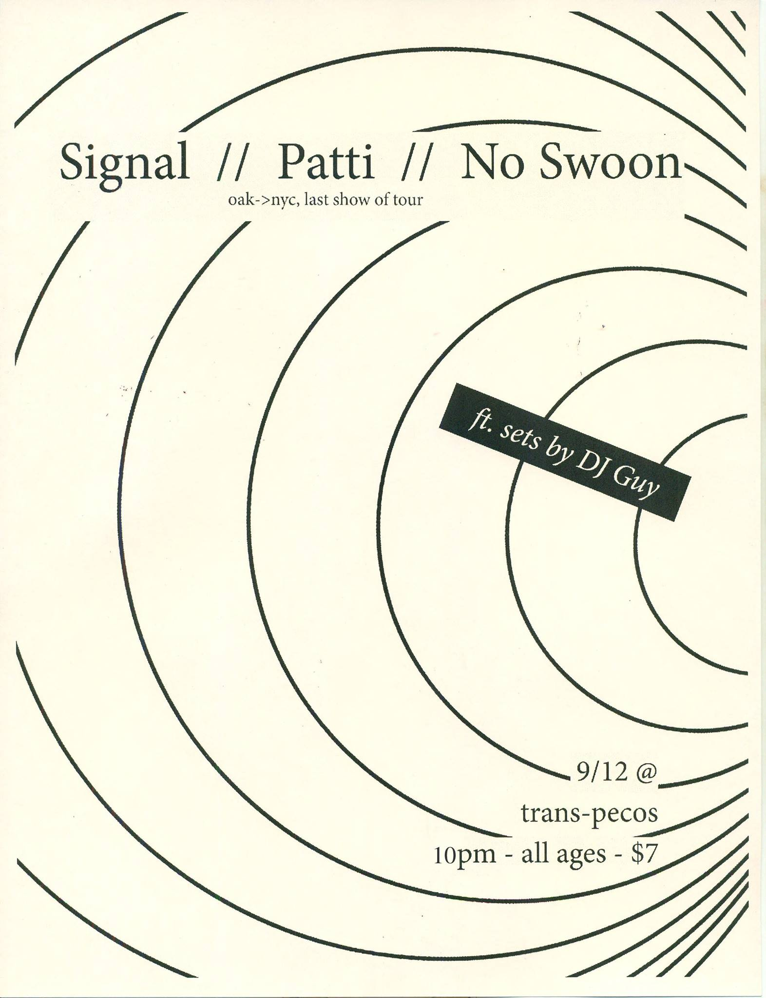 SIGNAL Patti  NO SWOON   10pm | all ages | $10+