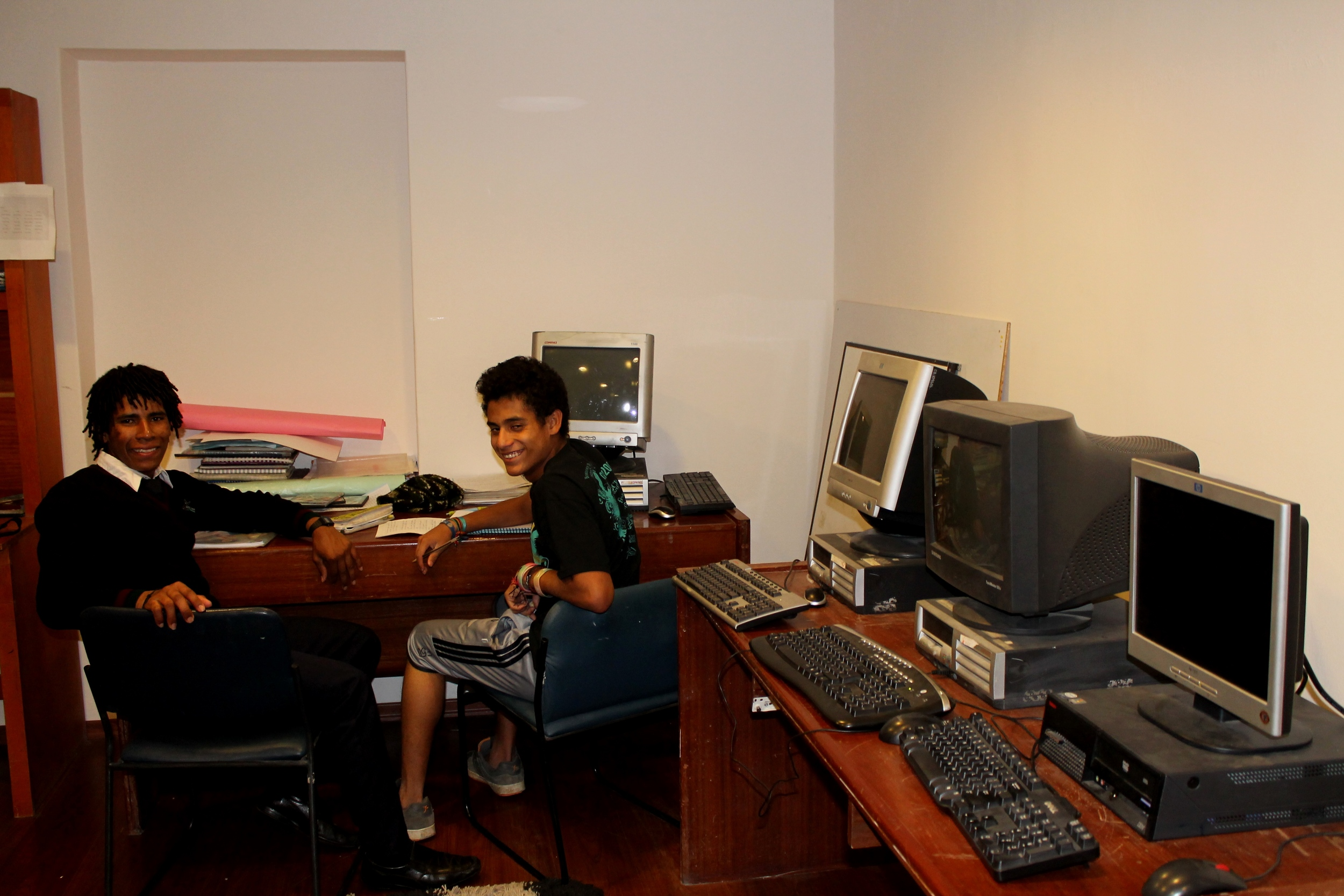 Doing homework in the Casa G computer lab
