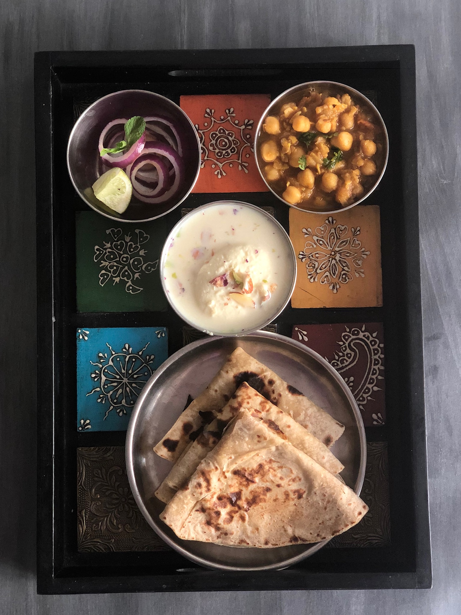 Indian Thali with Chole, Roti, Rasmalai