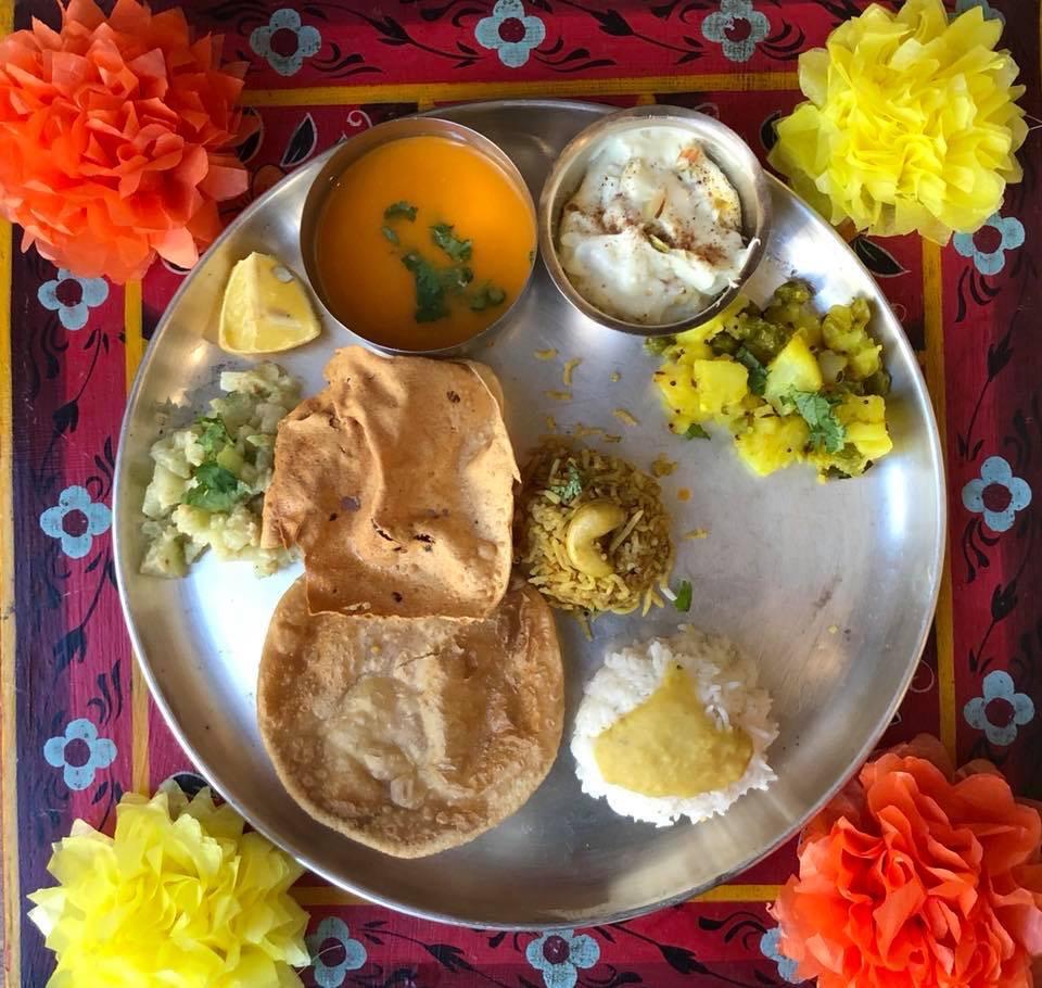 Puri,Shrikhand,Tomato Saar,Masale bhaat,Koshimbir,Batata Bhaji, Varan-Bhat