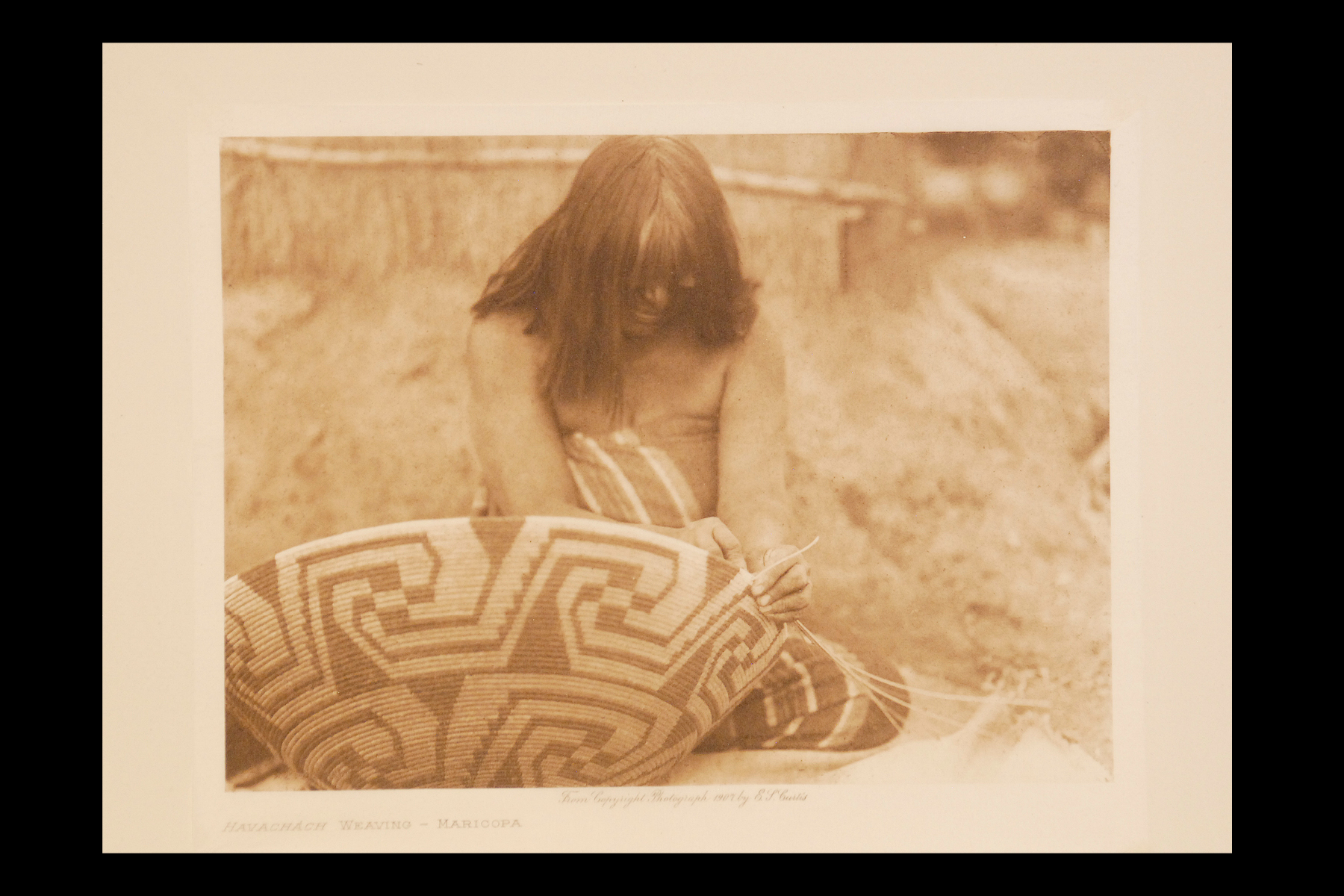 """Havachach Weaving - Maricopa"" 1907 Vol.2 Tissue Print, Vintage Photogravure"