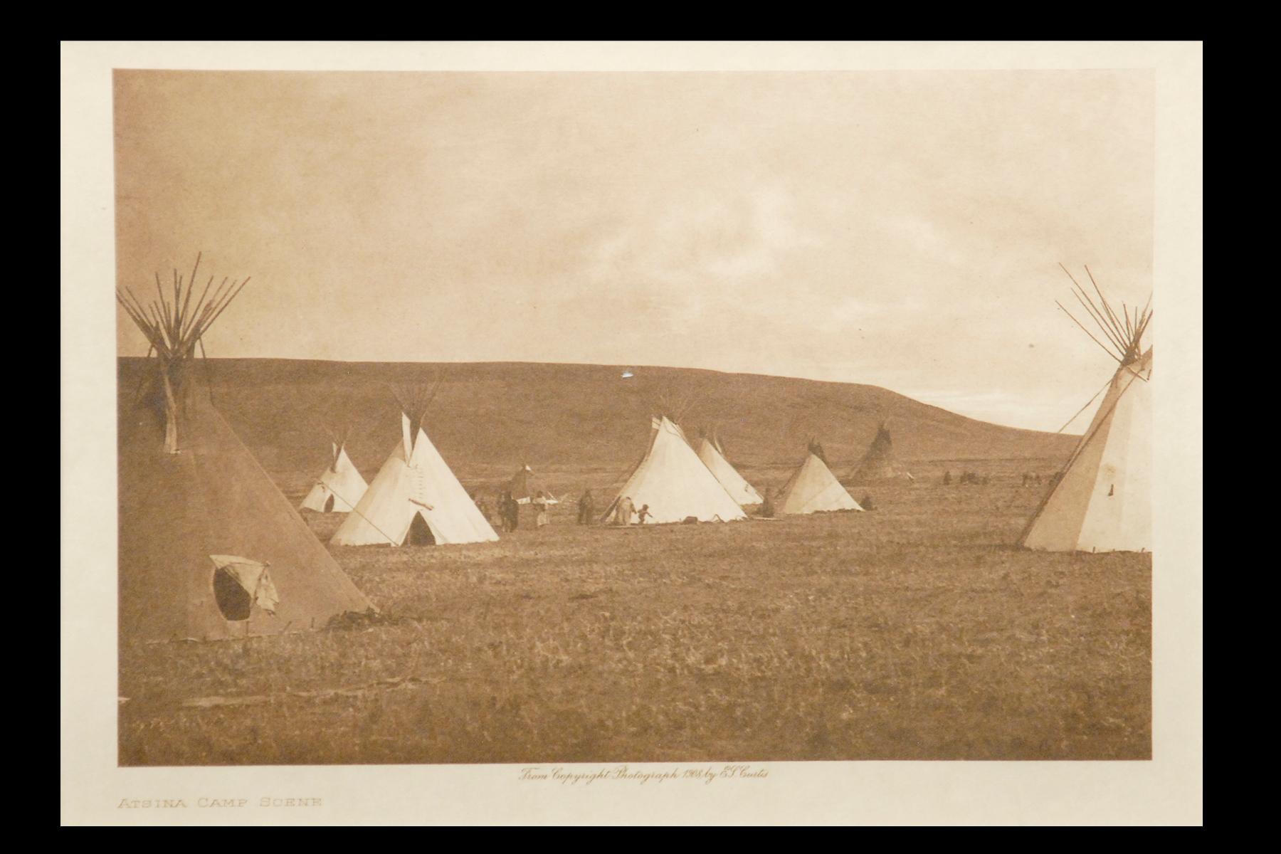 """Atsina Camp Scene"" Vol.5 1908 Vellum Print, Vintage Photogravure"