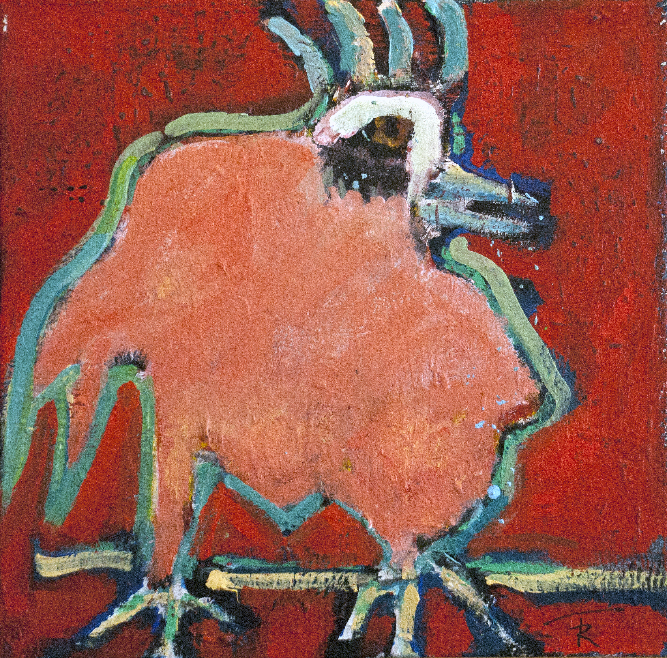 """Gallo de Cielo Rides Again""  16x16  $1200"