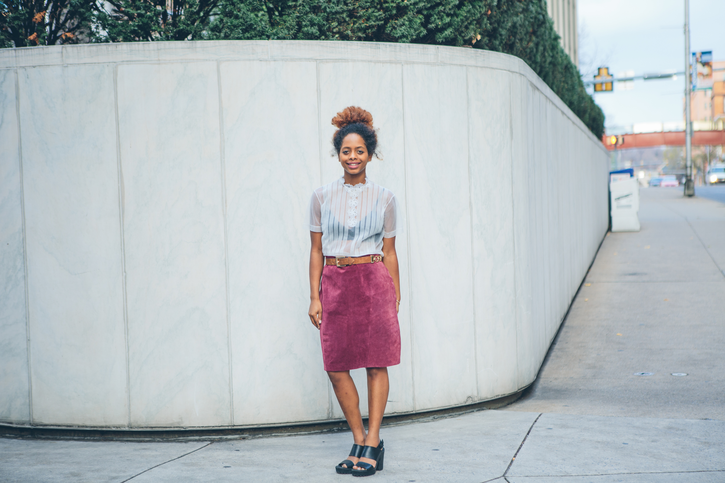 Maroon suede pencil skirt ($36) |  sheer antique blouse with sparkling embellishments ($28) | 90s Express suede and gold chain link belt ($20)