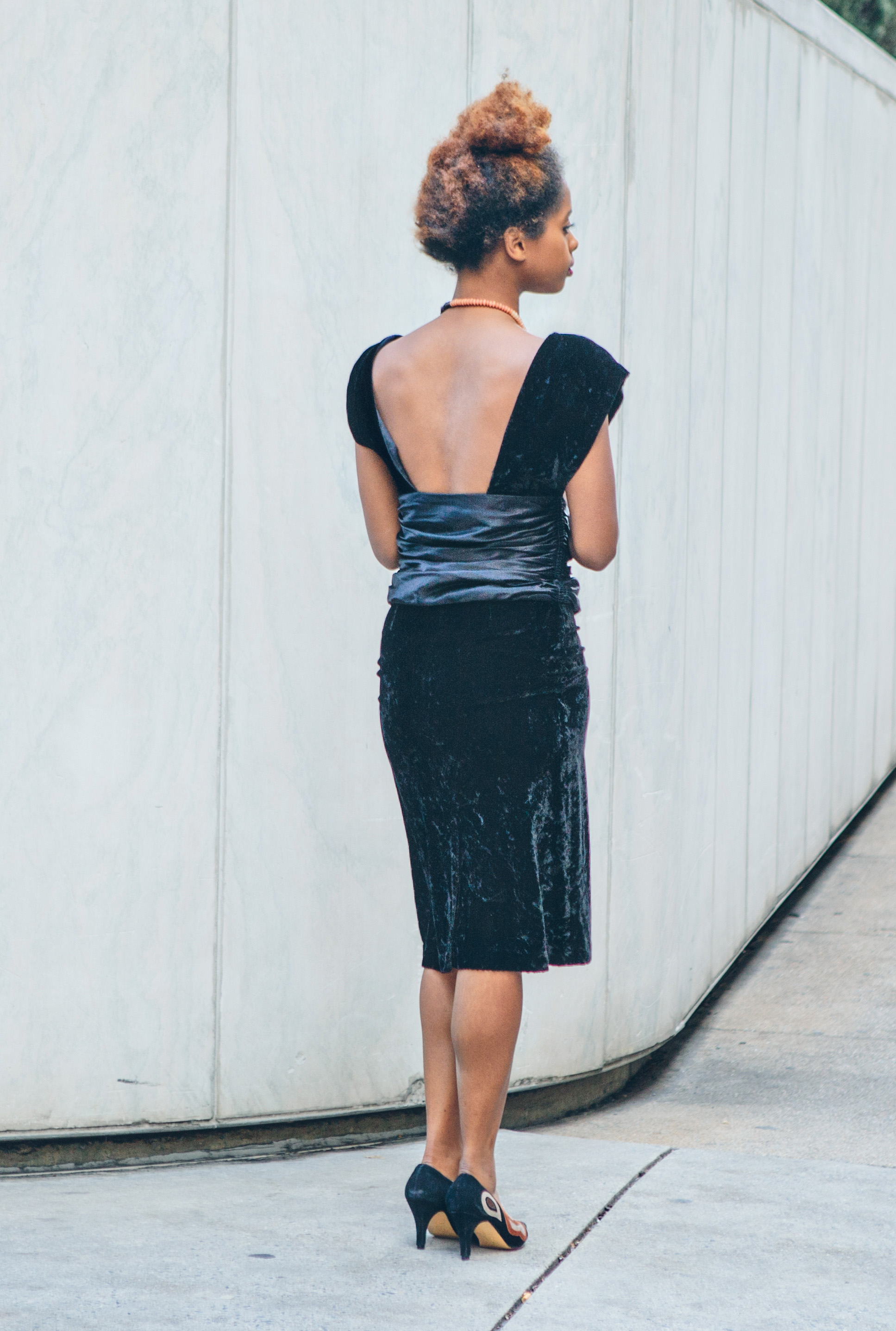 90s black velvet cocktail dress with beautiful open back ($36) | beaded necklace ($21) |suede patterned heels ($27)