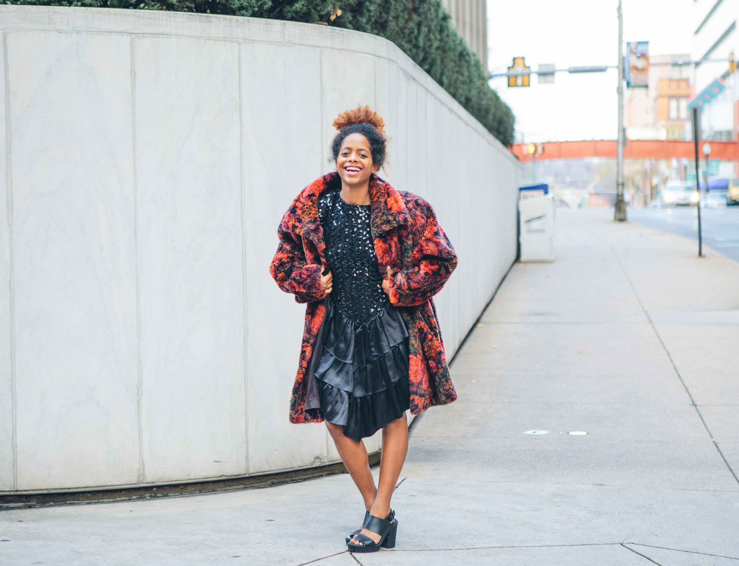 90s Express fuzzy floral over coat ($65)