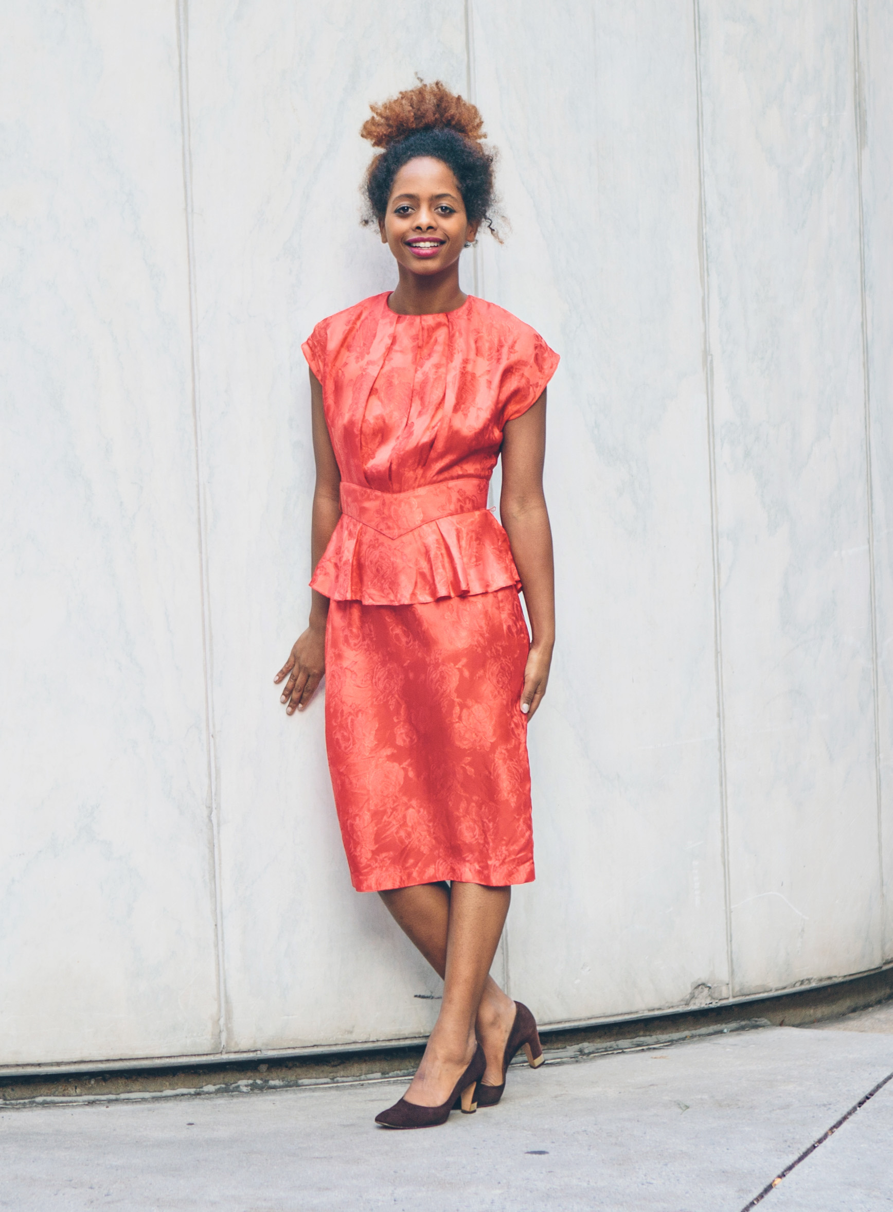 80s red floral peplum dress ($28) | brown suede heels with gold heel detail ($15)