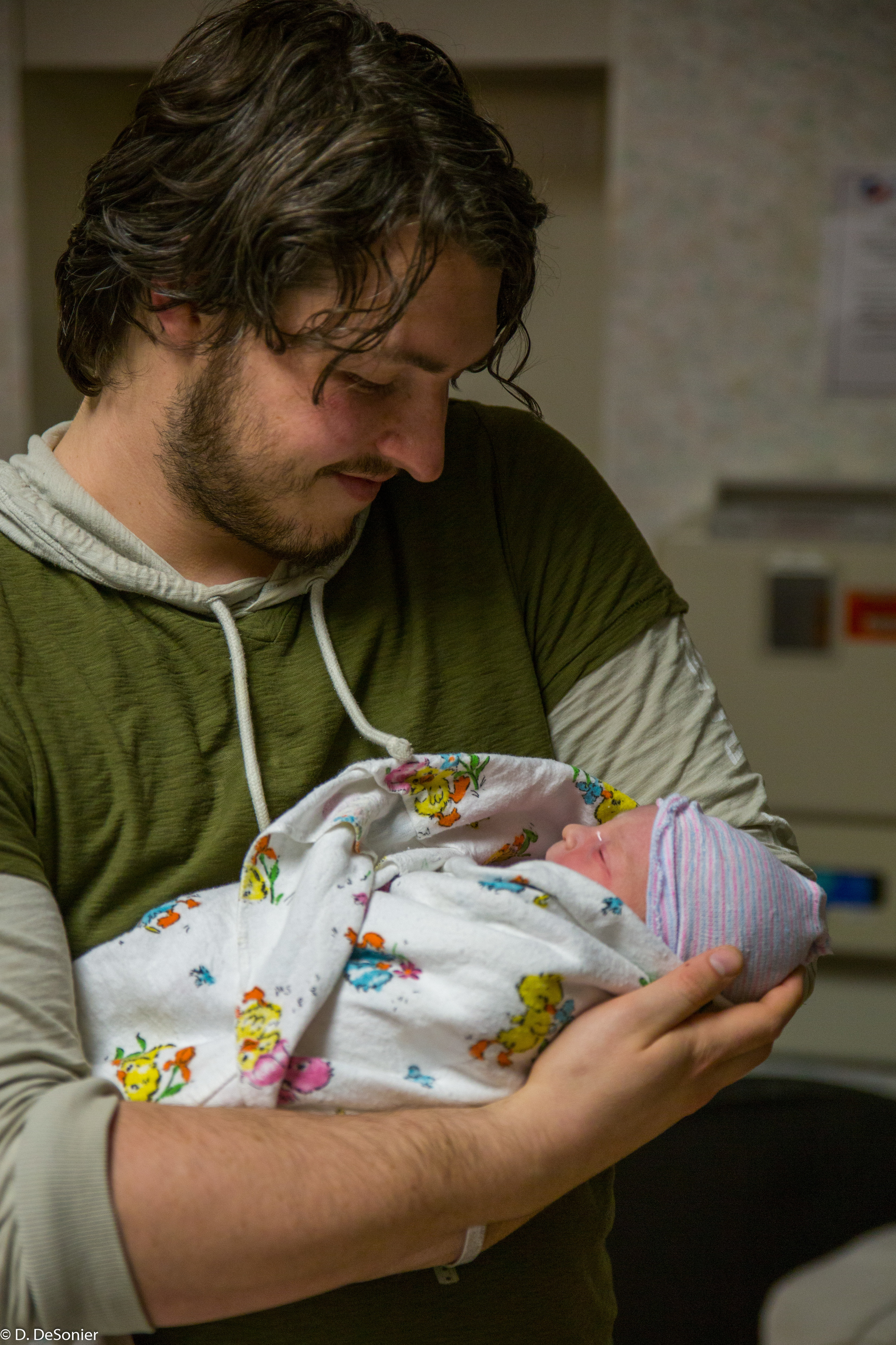 Josh and 1-hour-old daughter!