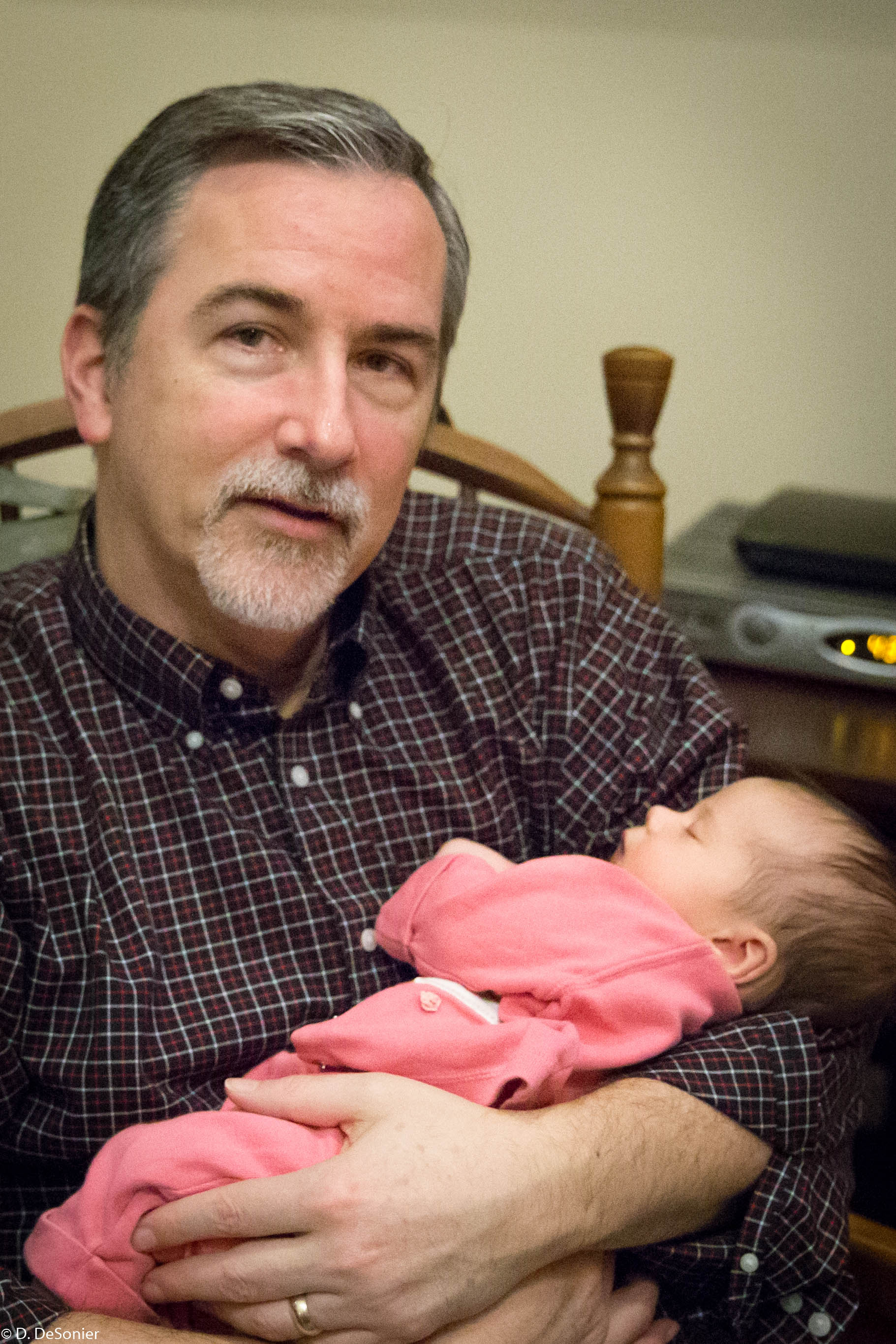 Athena, 5 weeks, and Grandpa