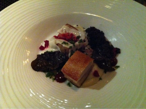 Pork Belly with Wattle, Garlic Milk & Rhubarb w/ 2008 Occhipinti 'SP68' Frappato Nero d'Avola, Sicily Italy