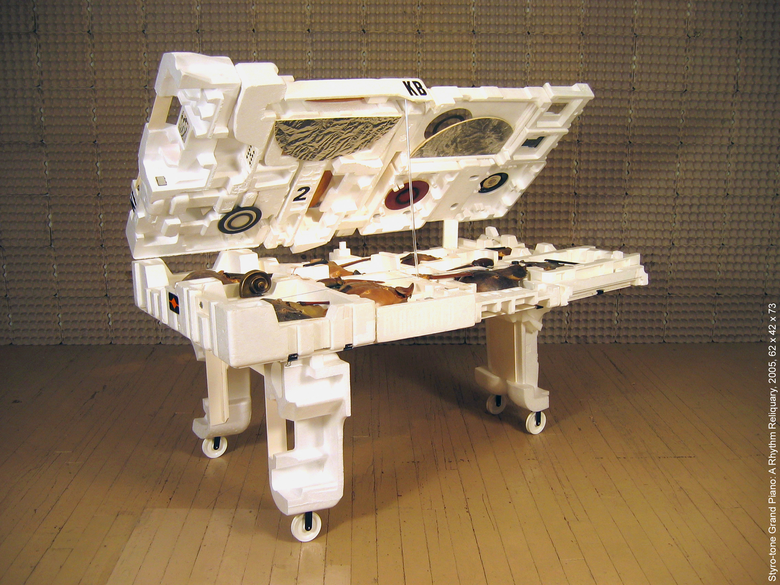 'Styro-tone Grand Piano: a Rhythm Reliquary' , 2005, 62 x 42 x 73 (with top open). Made from street-found Styrofoam containers and other detritus, the sculpture plays with the idea of reliquaries (sacred objects) presented in a kind of natural history museum environment, referencing a cabinet of curiosities. Constructions of horseshoe shell crabs, insects, violin parts, and other found objects reflect the iconography of string instruments. The lightness of the material makes it very portable, and although playable as a percussion instrument (amplified with multiple transducers), it is predominantly a visual piece with only one string and no keyboard.