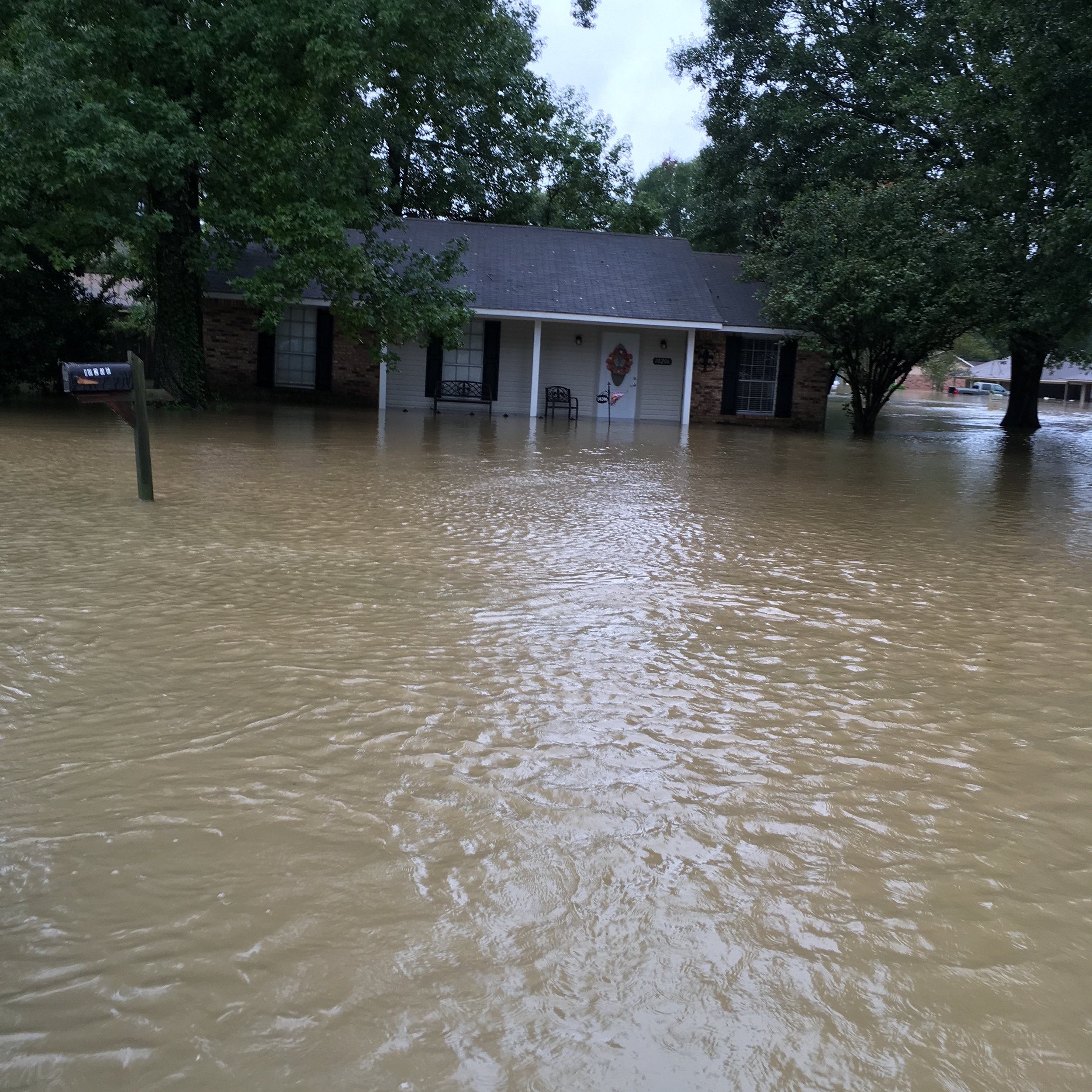 This is one of our employee's homes.  The photo was taken as they were being evacuated by boat.