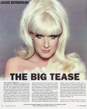 """""""Not only am I the president of Wigstock"""", says the Lady Bunny (above), """"I'm a wig-wearin' member!"""" Sweater by Christian Dior. Cosmetic colors by M A C. photo: Jonty Davies"""