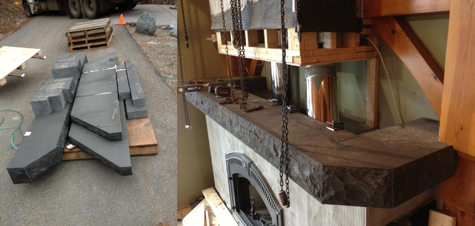 Black Basalt Mantel & Hearth slabs.