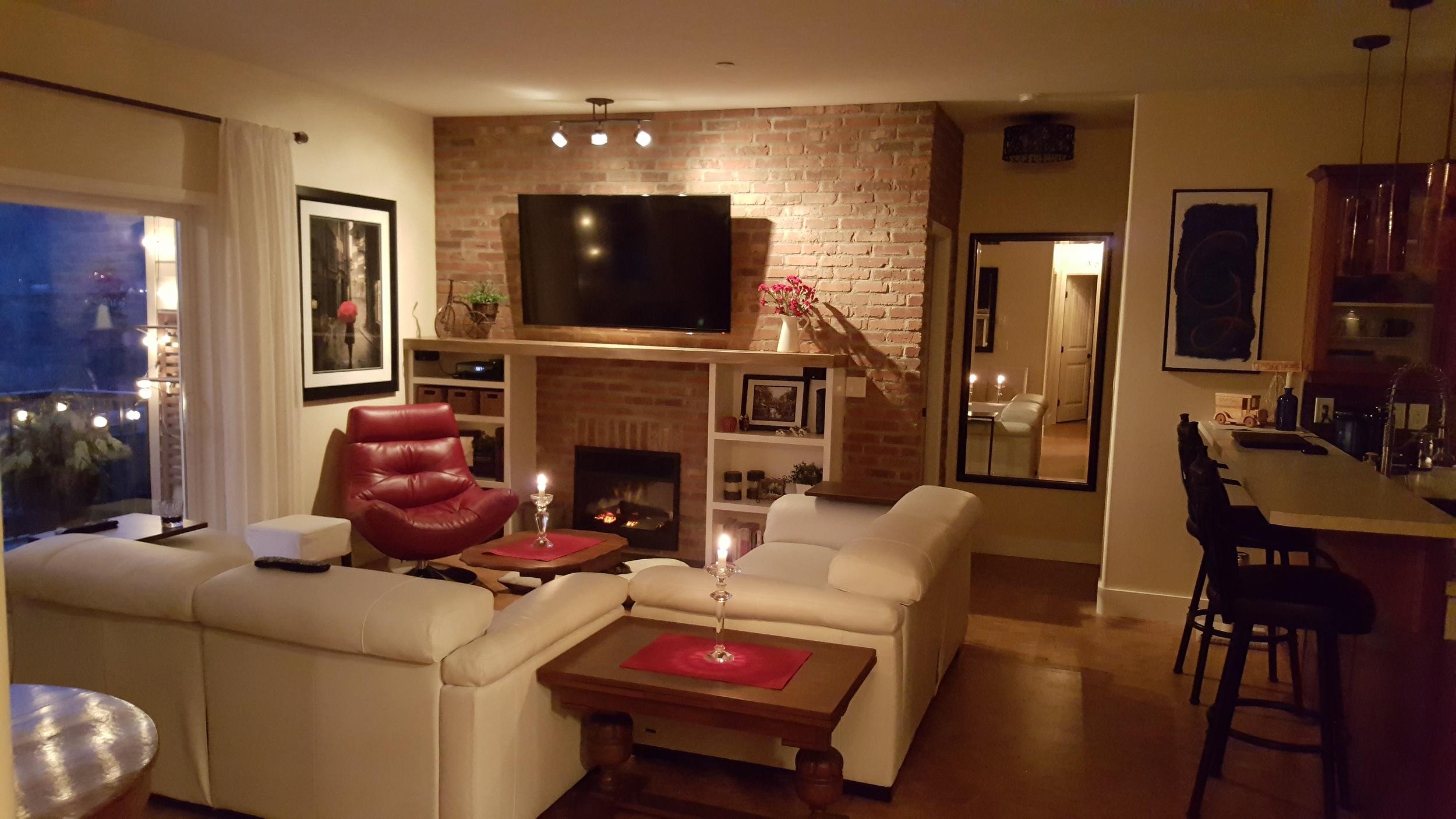 Thin Brick Fireplace Wall