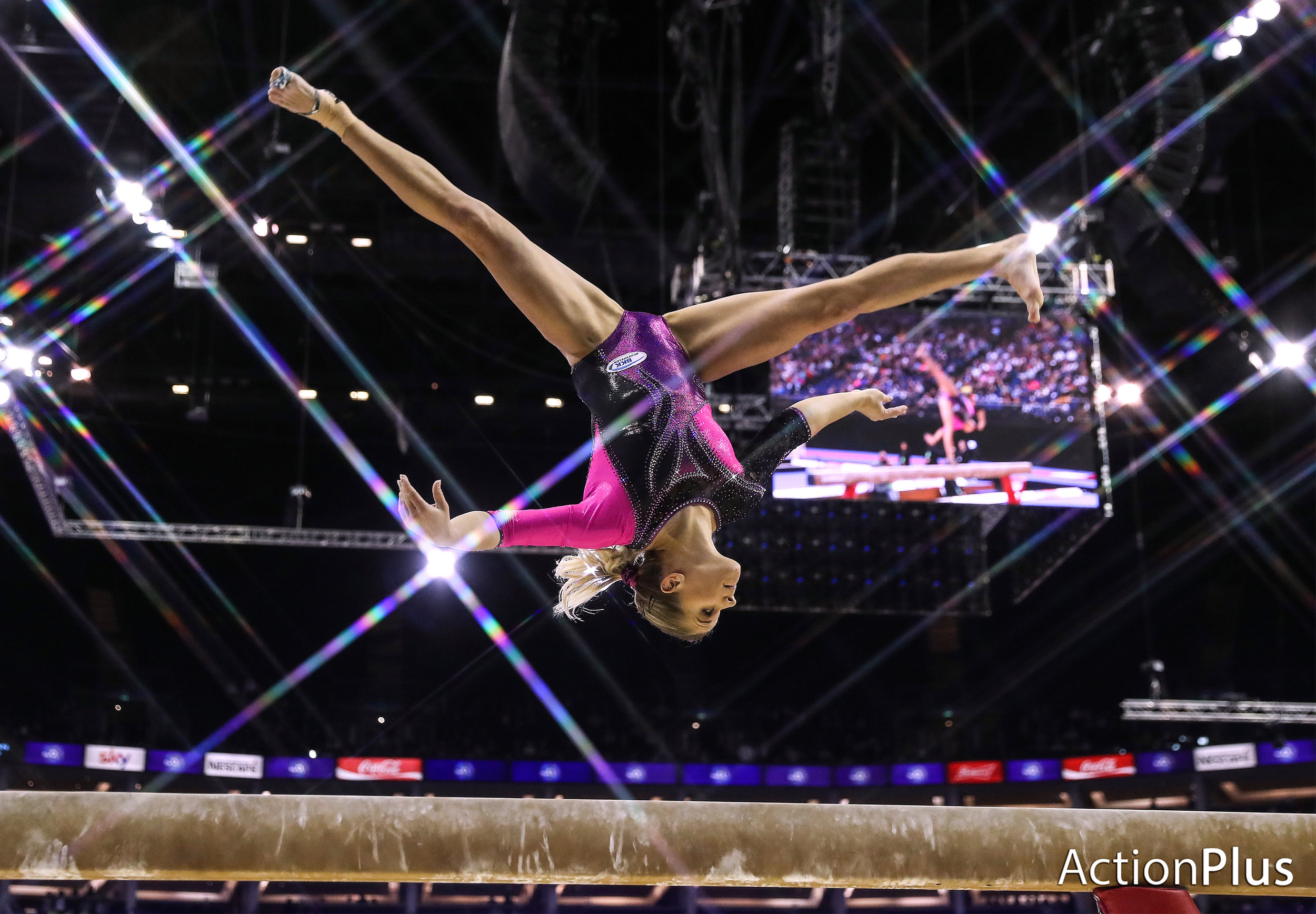 Elisabeth Seitz of Germany performing on the beam.