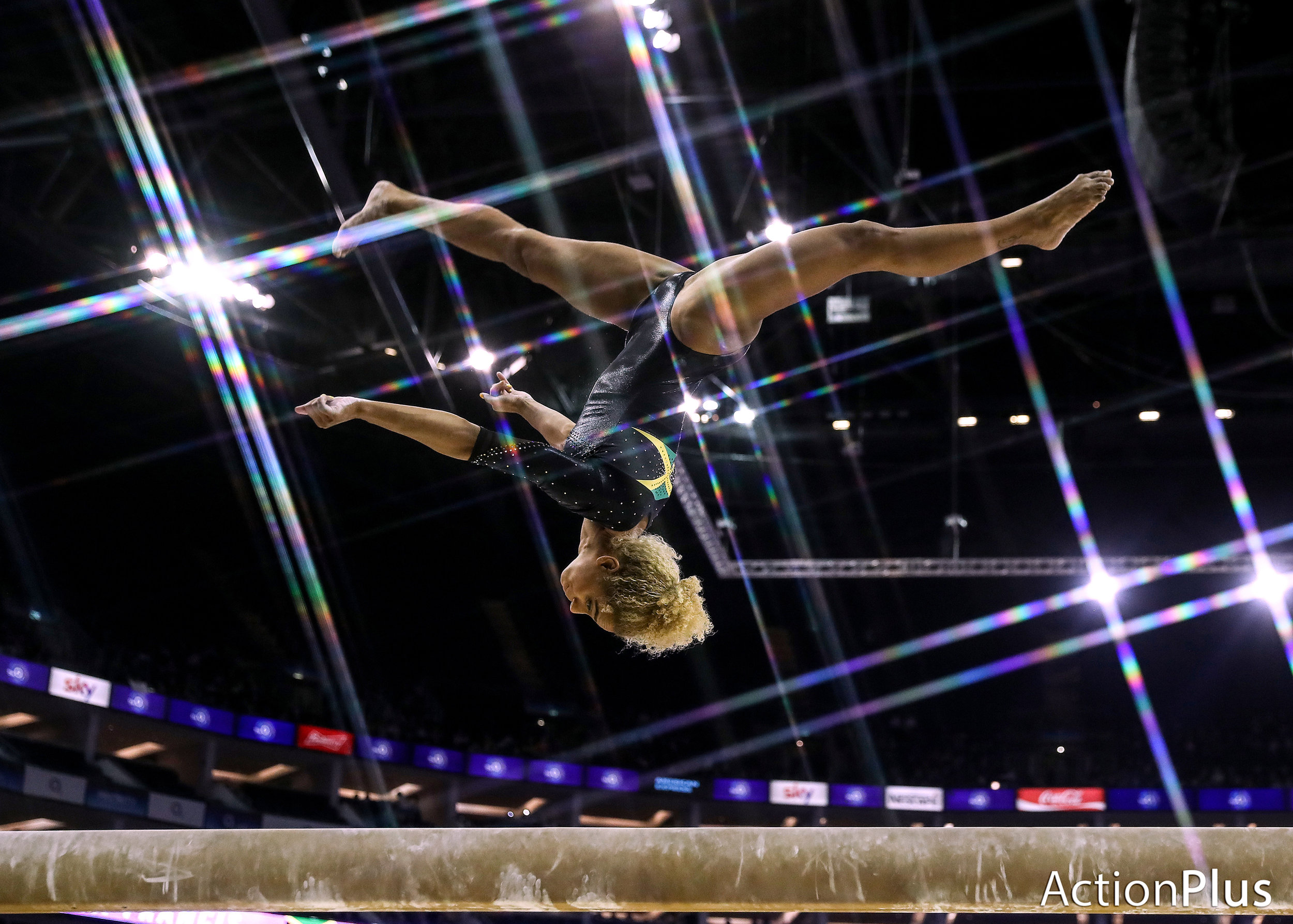 Danusia Francis of Jamaica performing on the beam.