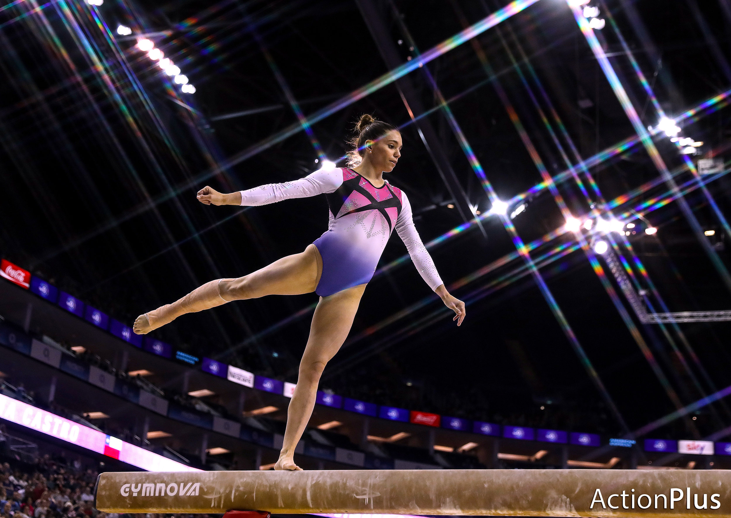 Simona Castro of Chile performing on the beam.