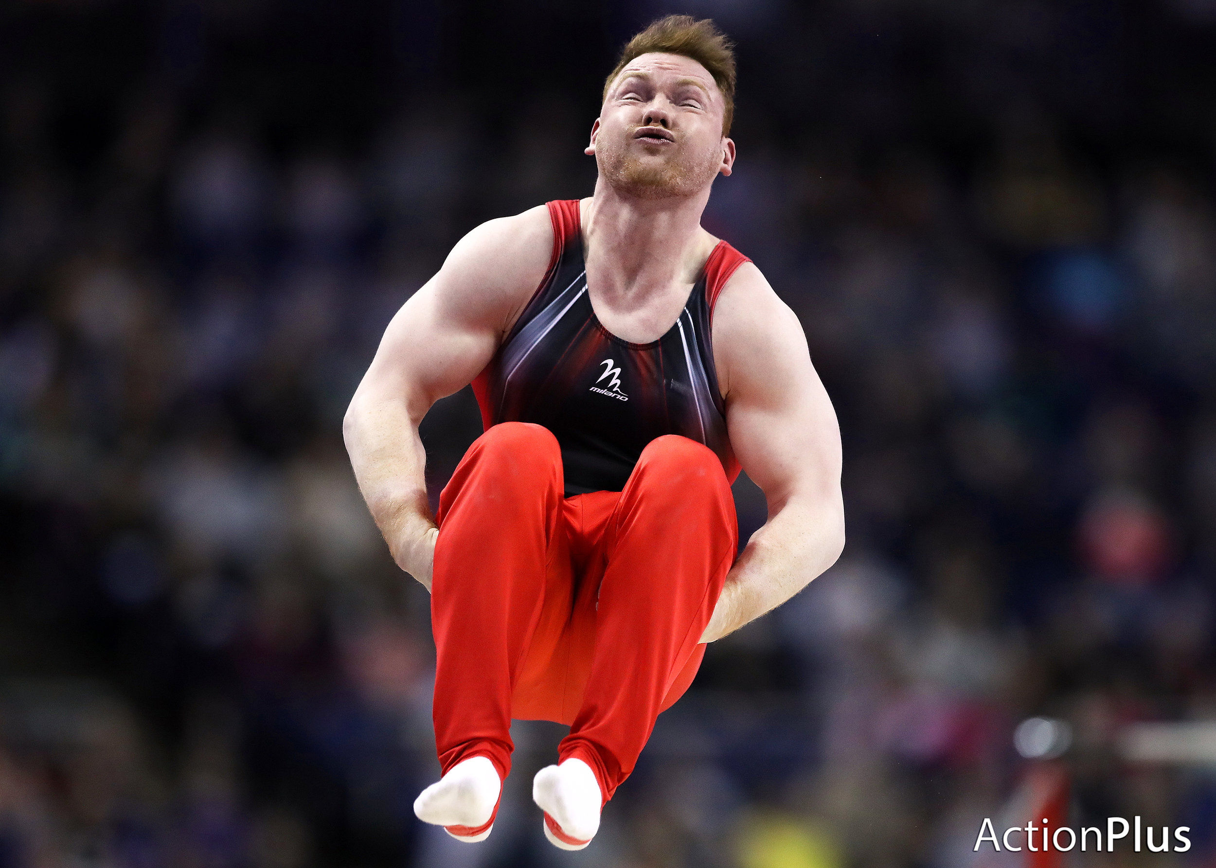 Danny Purvis of Great Britain performing on the Men's Parallel Bars.