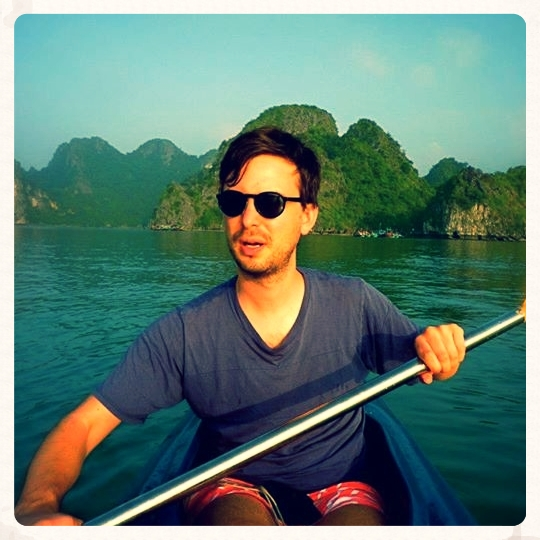 Kayaking in Vietnam. Tom in heroic mode.
