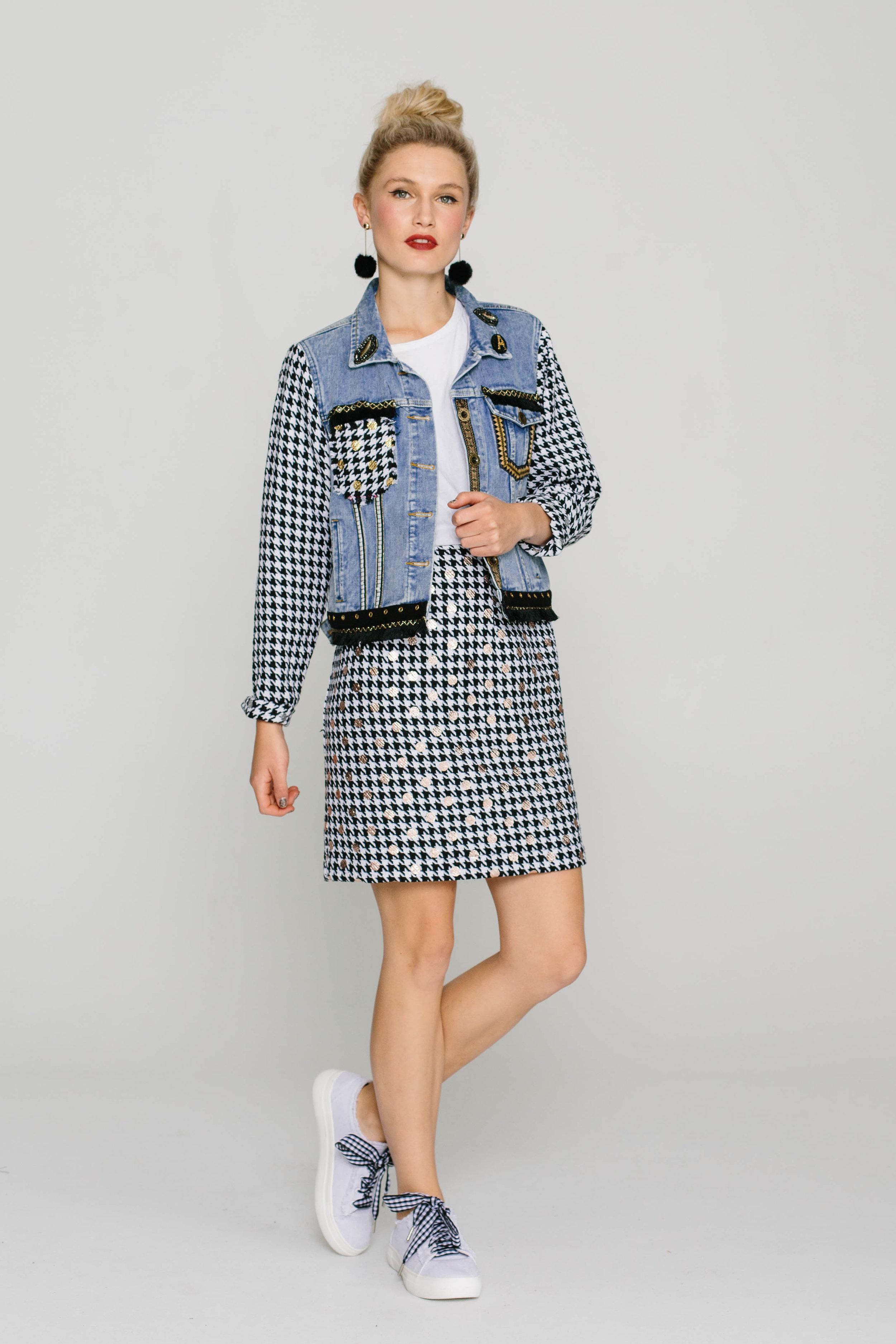 6199WB Denim Jacket 5740W Straight Skirt Chanel Silver