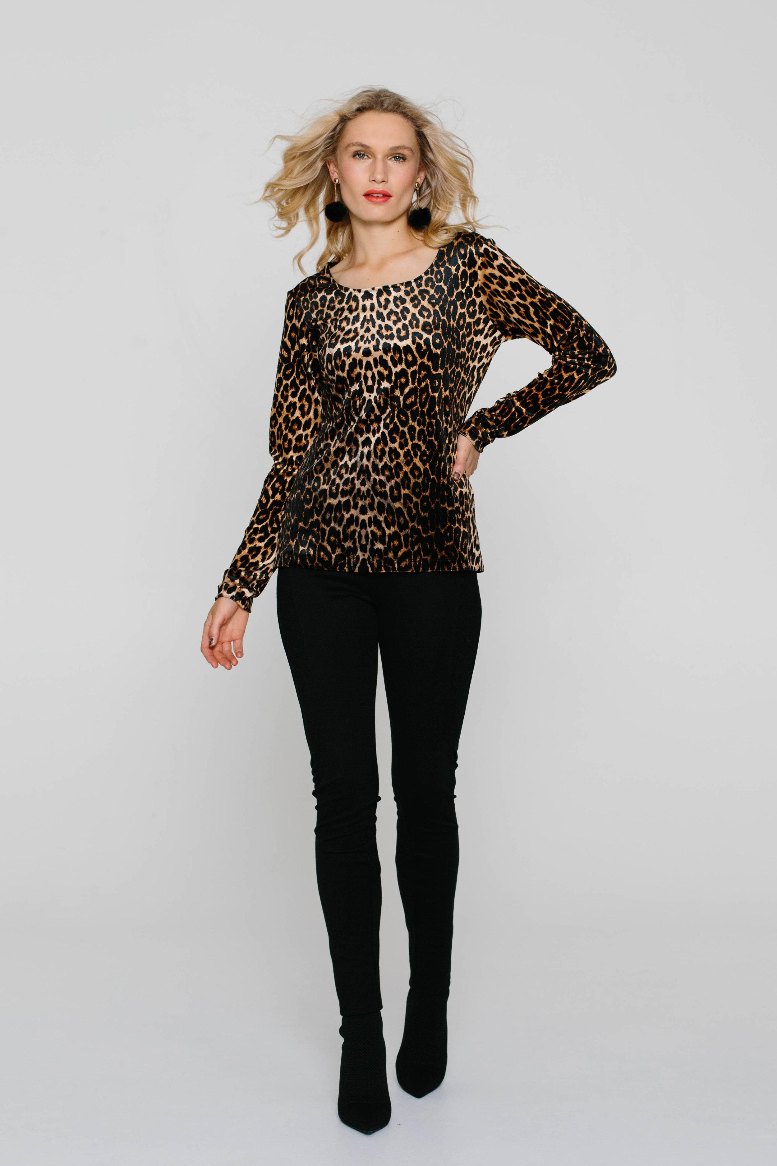 3989WA Long Sleeve Tee Leopard Caramel
