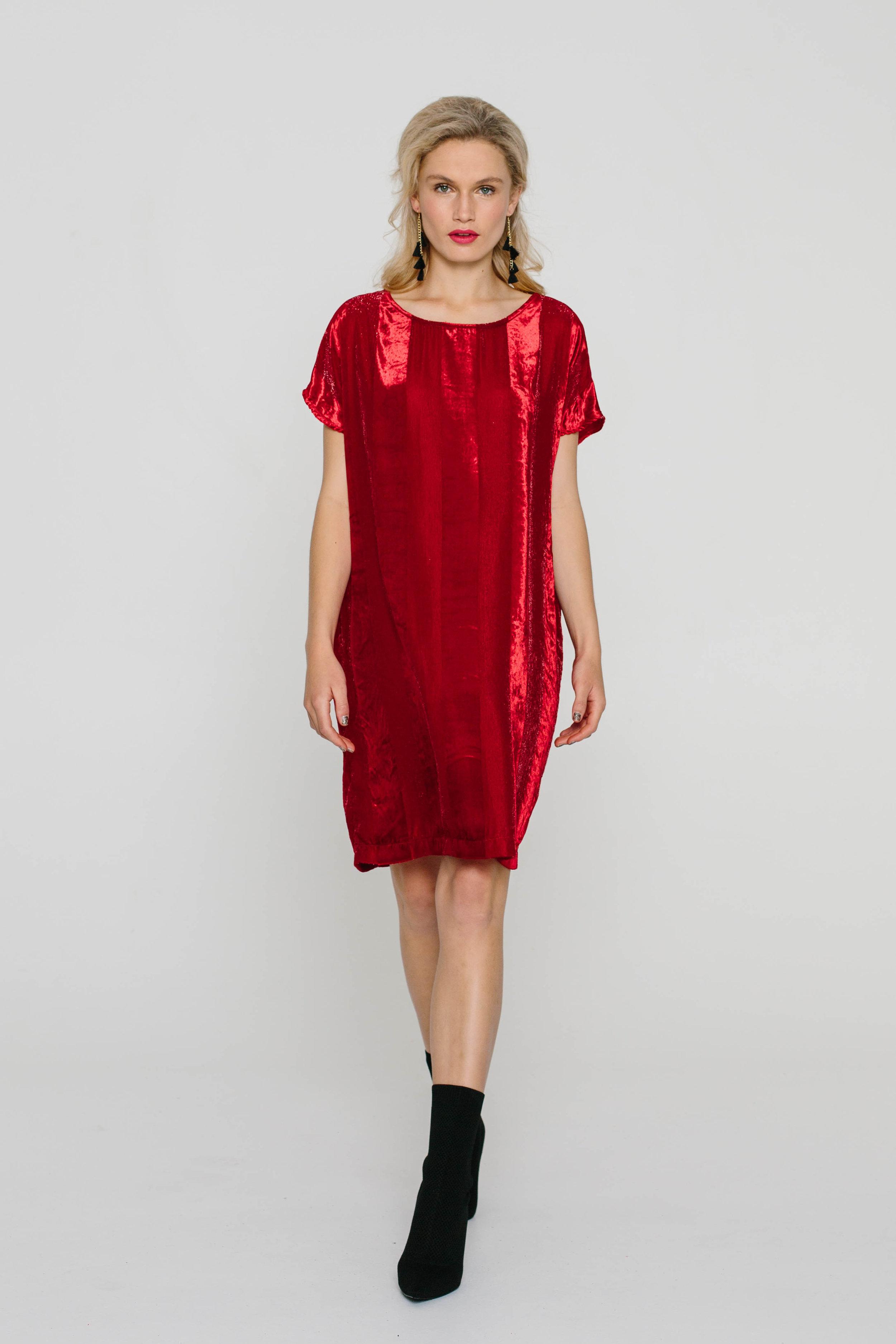 5474WA The Dress Velvet Red