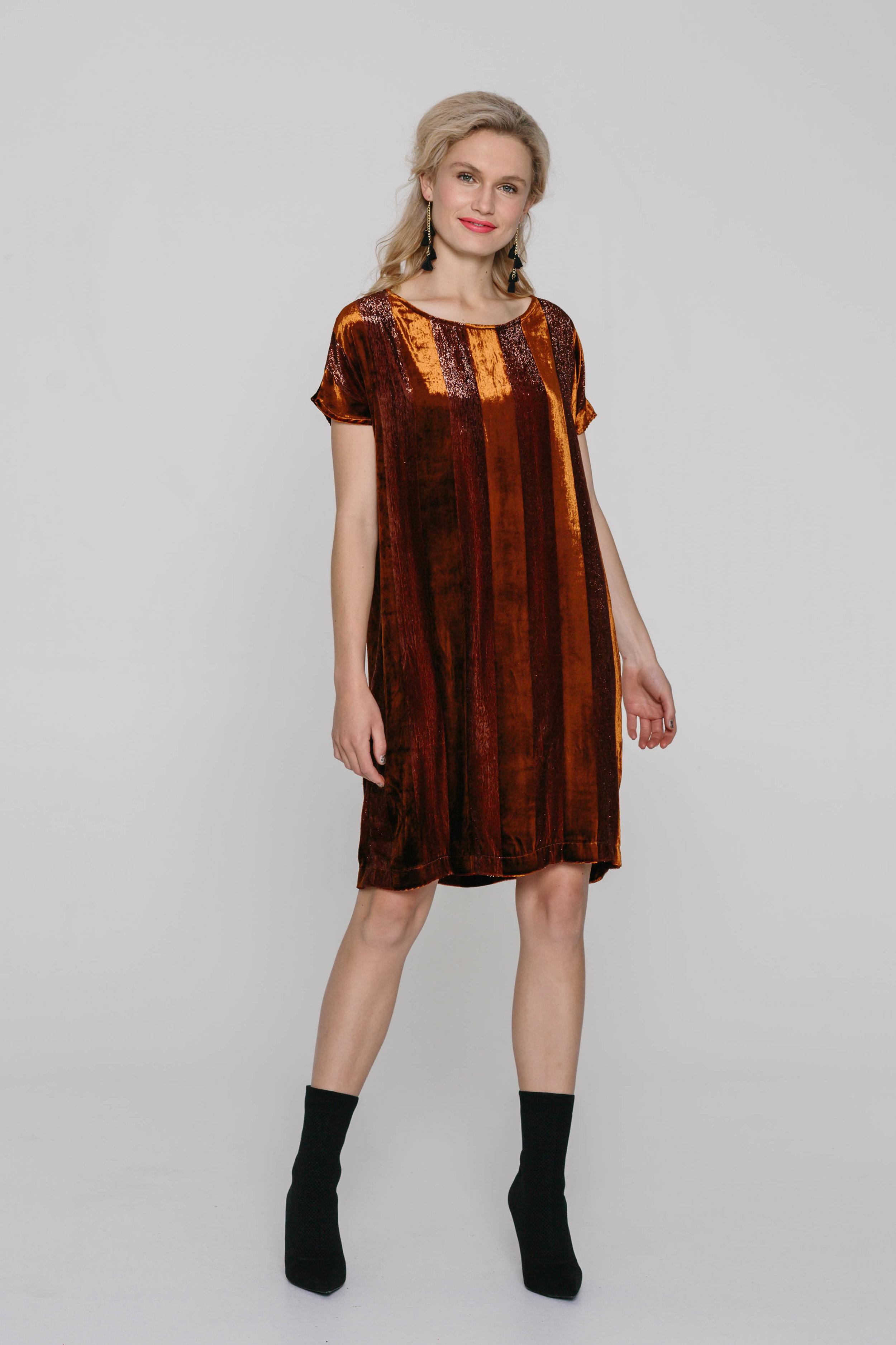 5474WA The Dress Velvet Rust