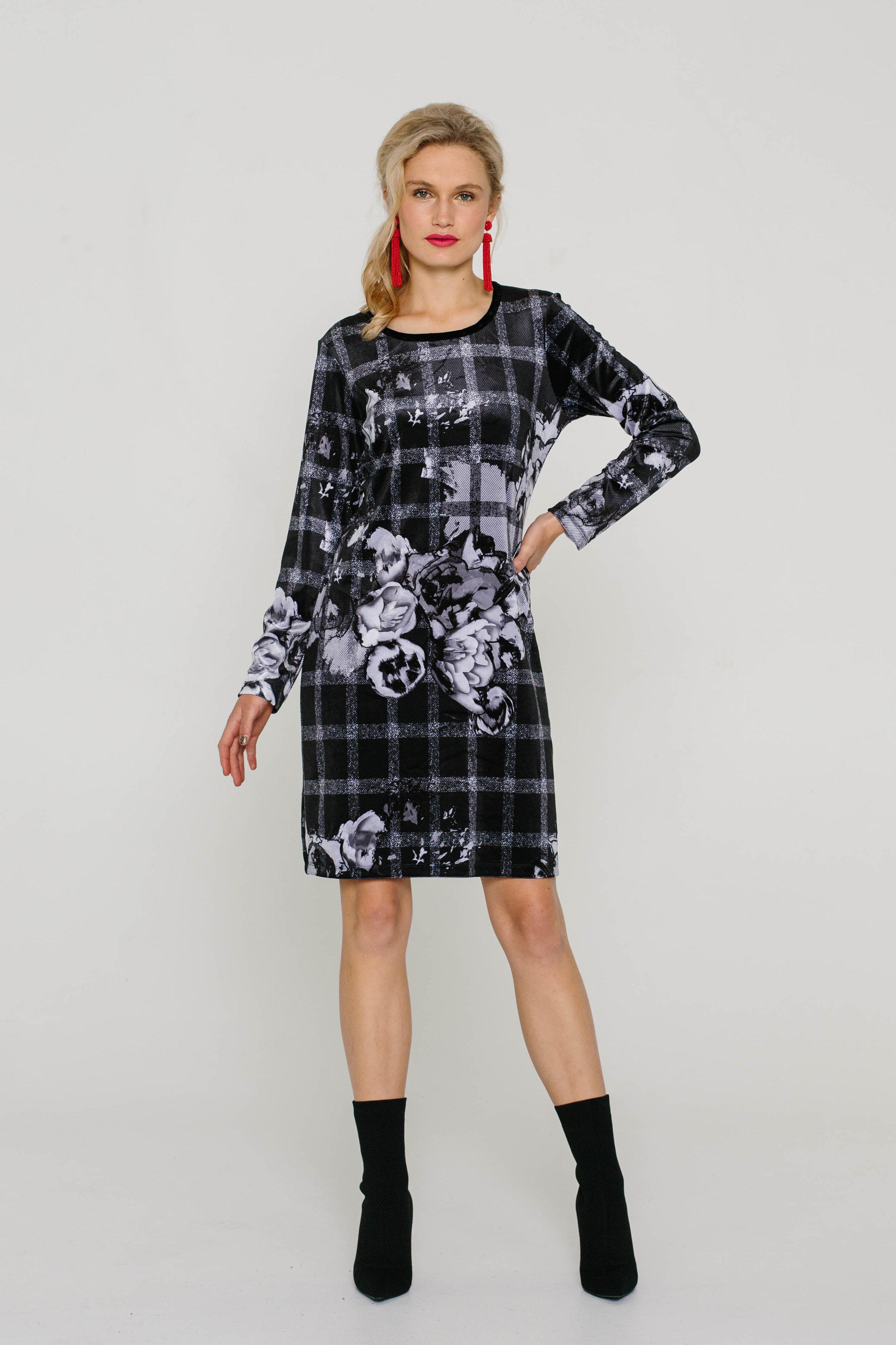 5979W Blondie Dress Check Black Rose